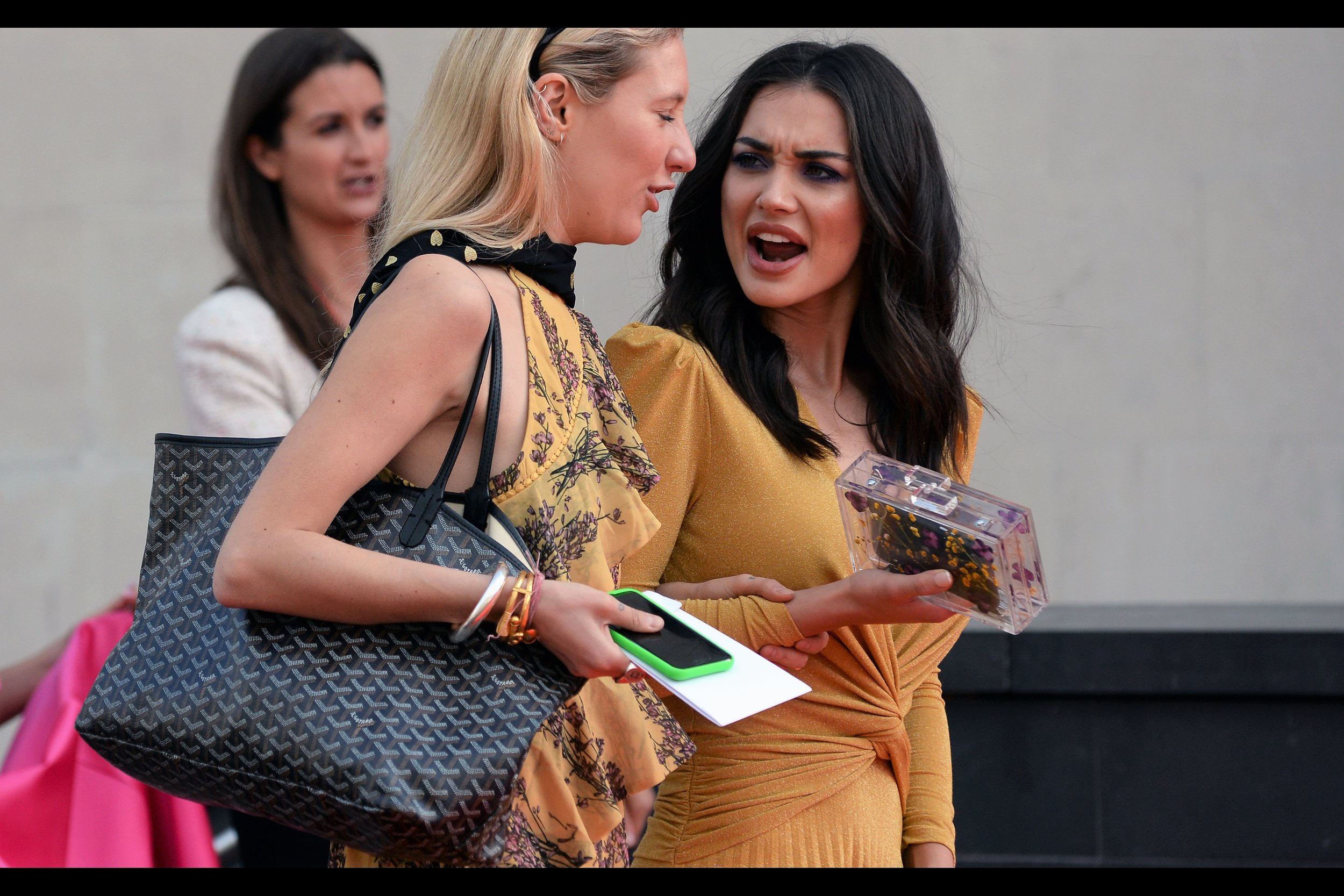 """Just because my 'Time's Up' badge had the apostrophe in the wrong place didn't make it less sincere, Janice....""  This is (I am assured by wireimage.com) Amy Jackson"