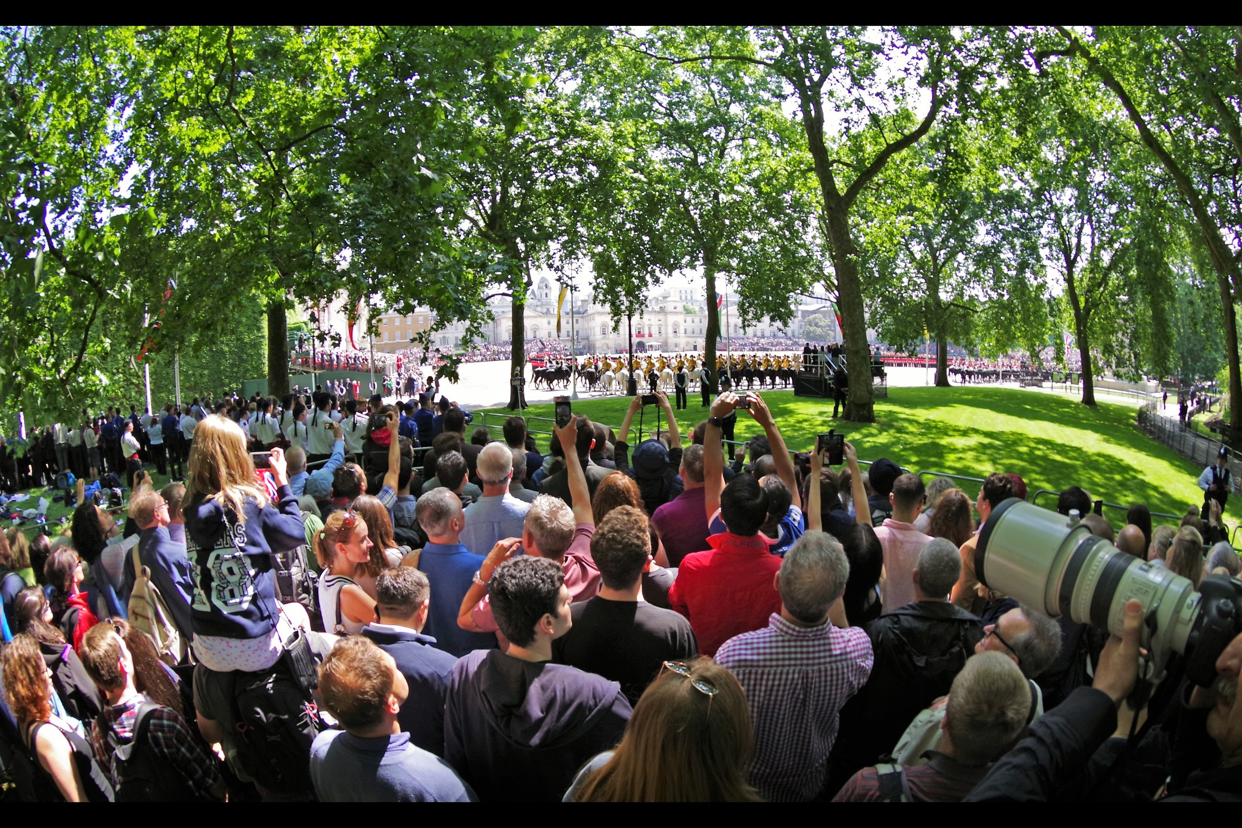 """With the Queen's carriage having passed by, I switched to Location 2 - still inside the park, but facing East and across to Horse Guards Palace where the actual """"Trooping the Colour"""" is held."""