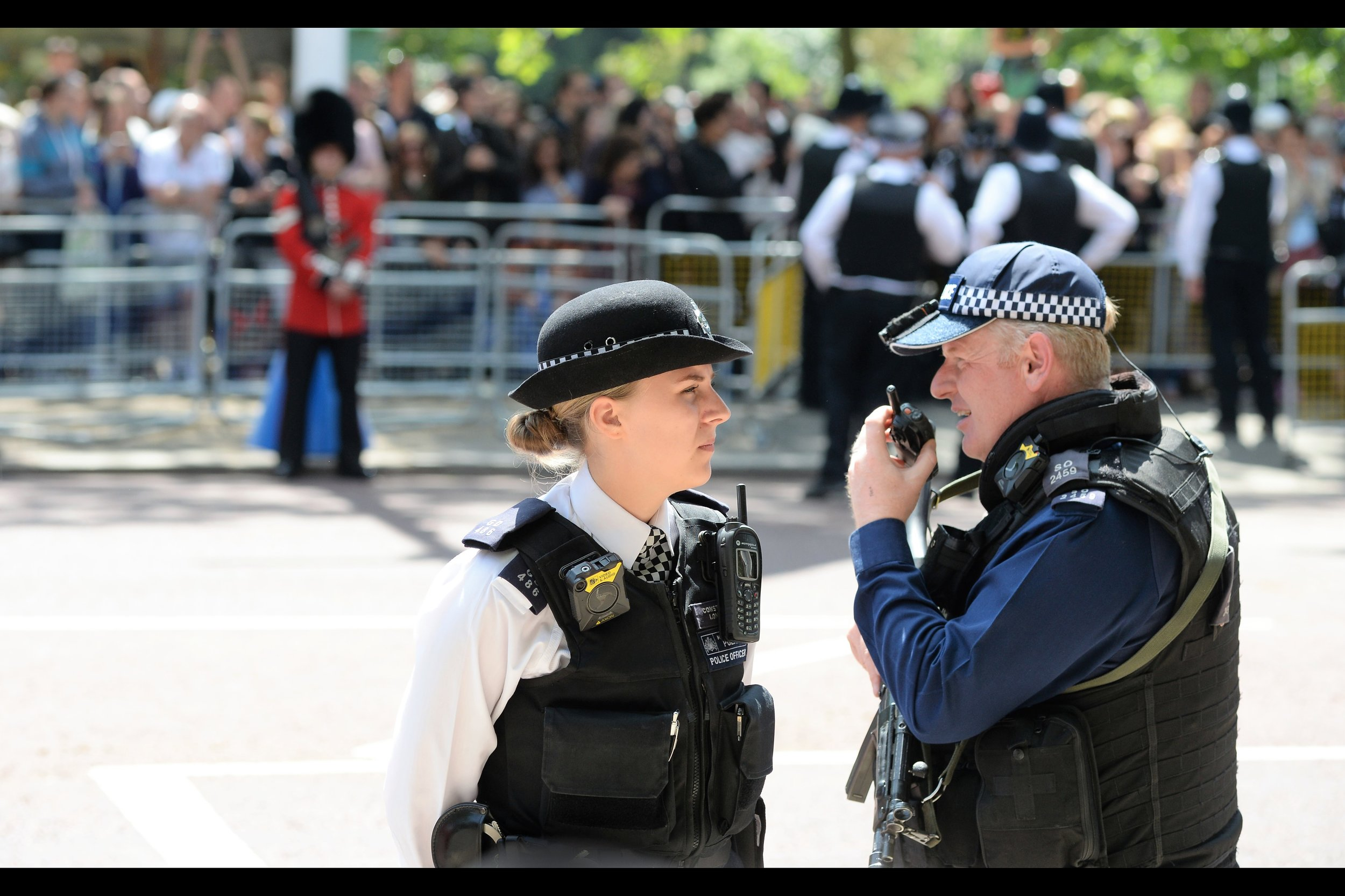 """""""I'm looking at a cute blonde standing to the east, wearing a police uniform.... I kinda want to ask her out on a date.... and I probably shouldn't be talking this loudly directly in front of her. Cameron out."""""""