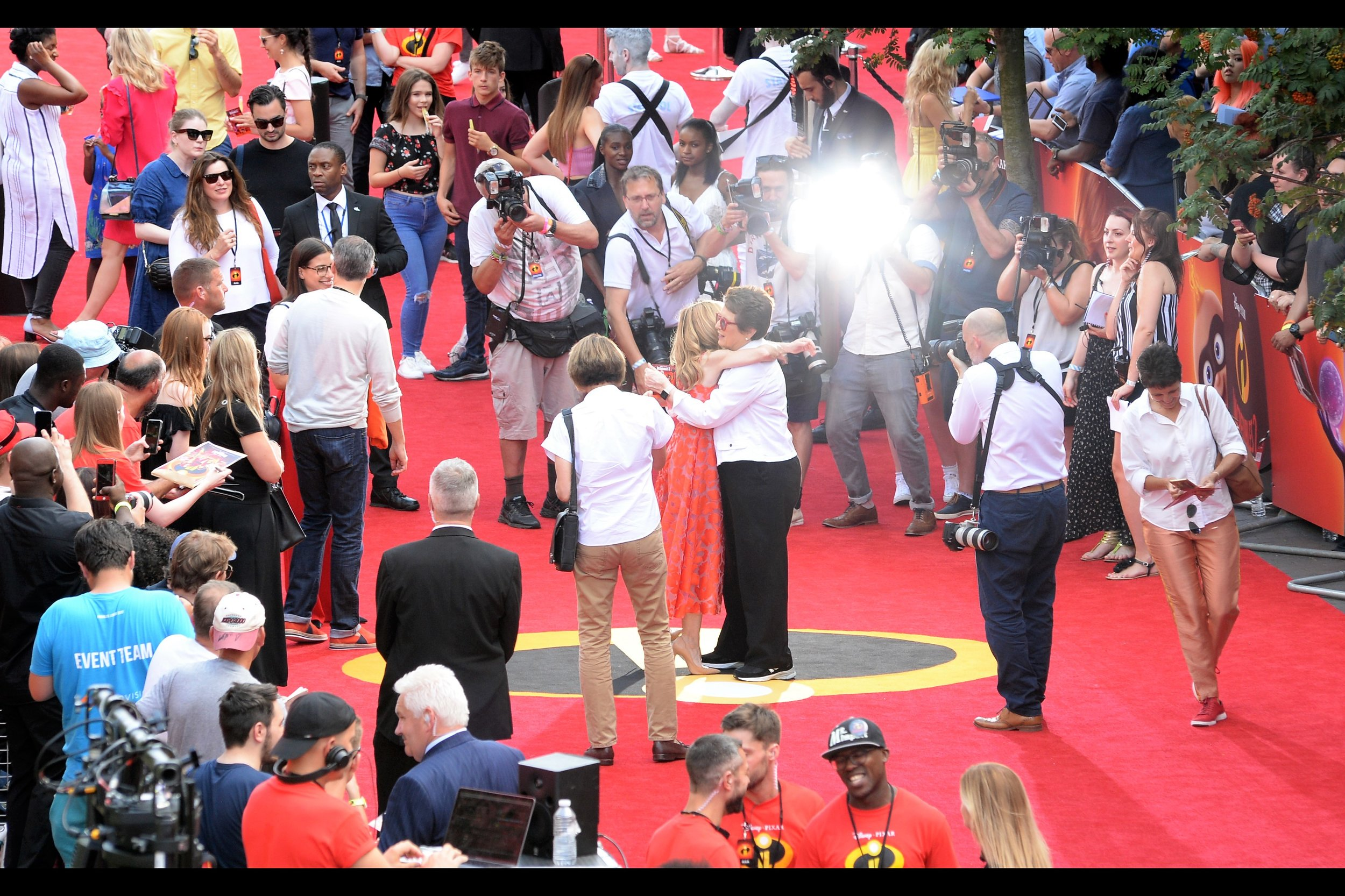 """Random(ish) attendee : former tennis number one Billie Jean King, hugging Holly Hunter. I photographed her at last year's    BFI London Film Festival premiere for """"Battle of the Sexes""""."""