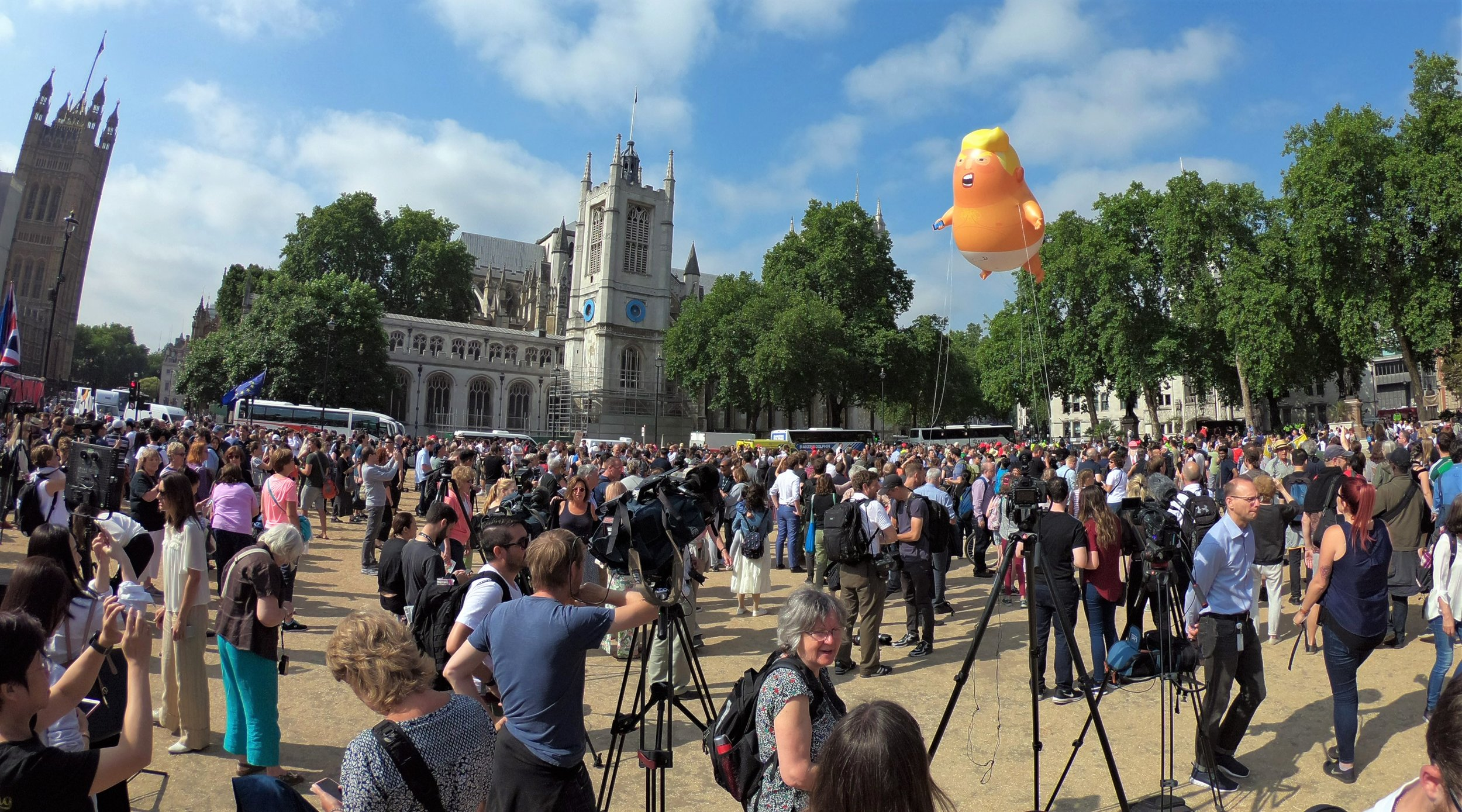 A few hours before the premiere..... giant inflatable Trump Baby, Parliament Square, London. Oh, come on. Don't act like this doesn't happen every couple of weeks where you live...