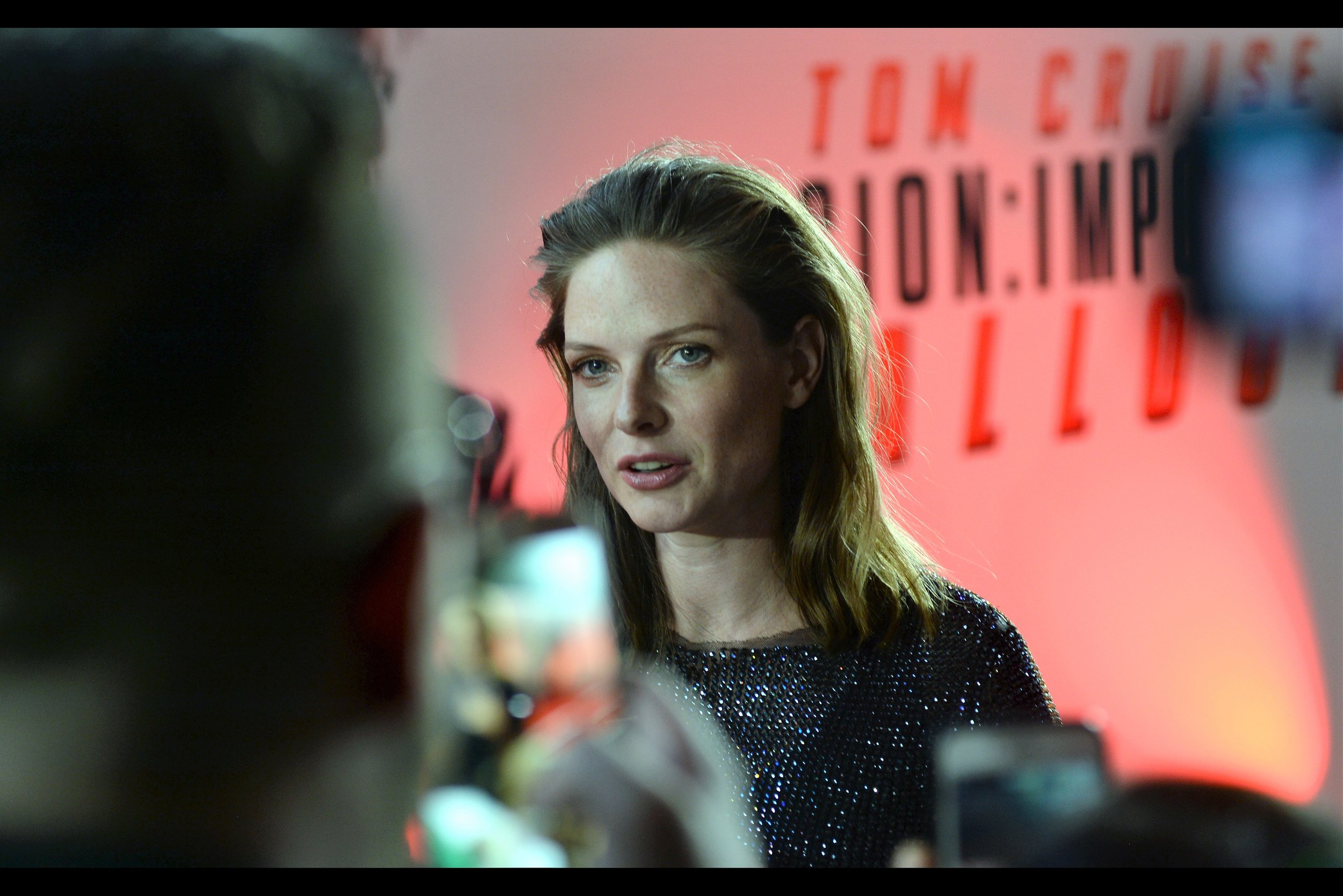 """""""I find it hard to believe you're Swedish. Mainly based on the soccer jersey you're wearing""""  Rebecca Ferguson was in (and excellent in) the previous    Mission Impossible film - """"Rogue Nation"""""""