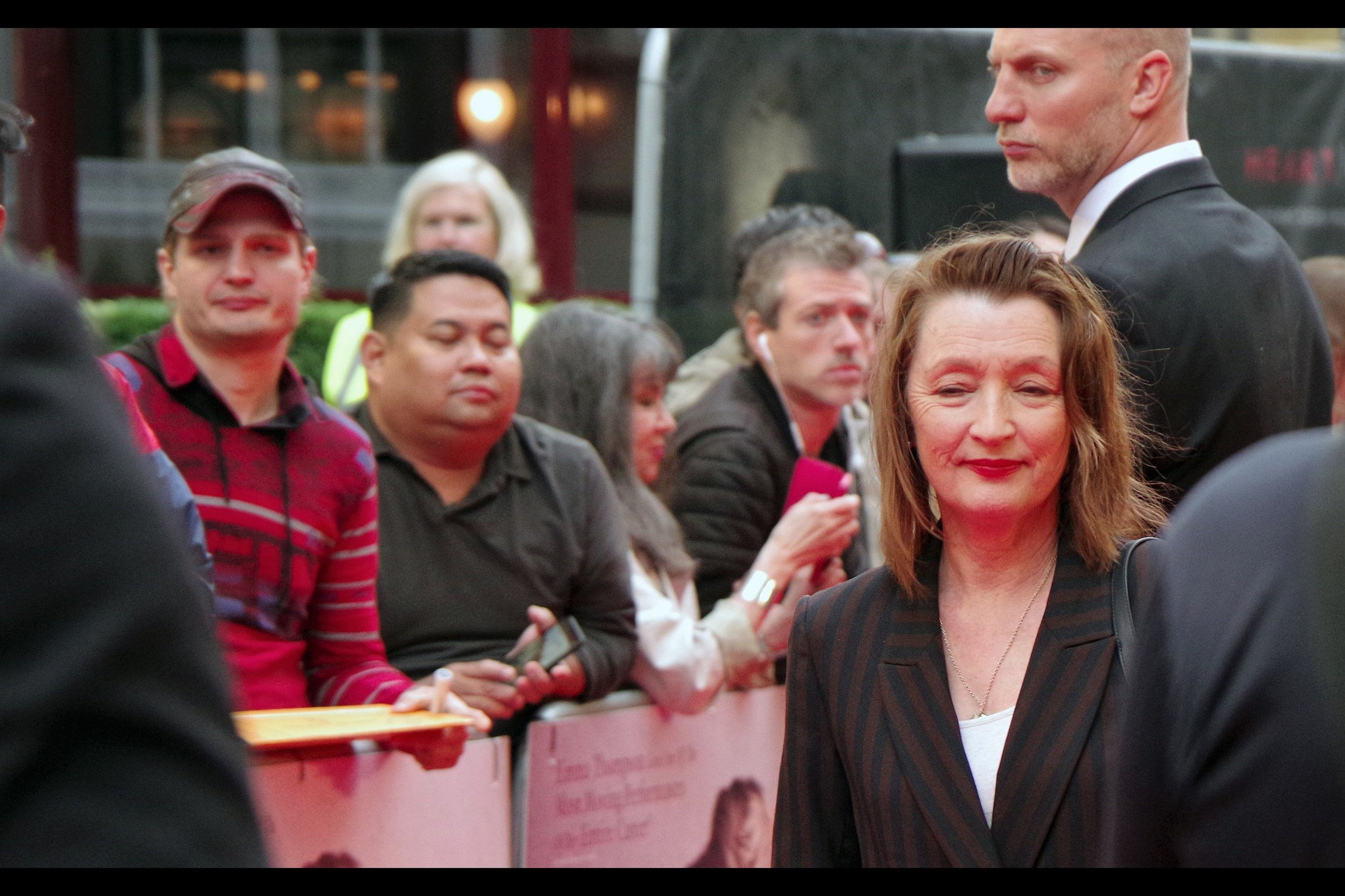 "Lesley Manville's expression is great, but there are at least three if not four other expressions I quite like in this photo. She's best known for having Oscar and Bafta nominations for last year's ""The Phantom Thread"", but won an Olivier in 2014 for ""Ghost"". And she was at this year's    Oliviers   ."