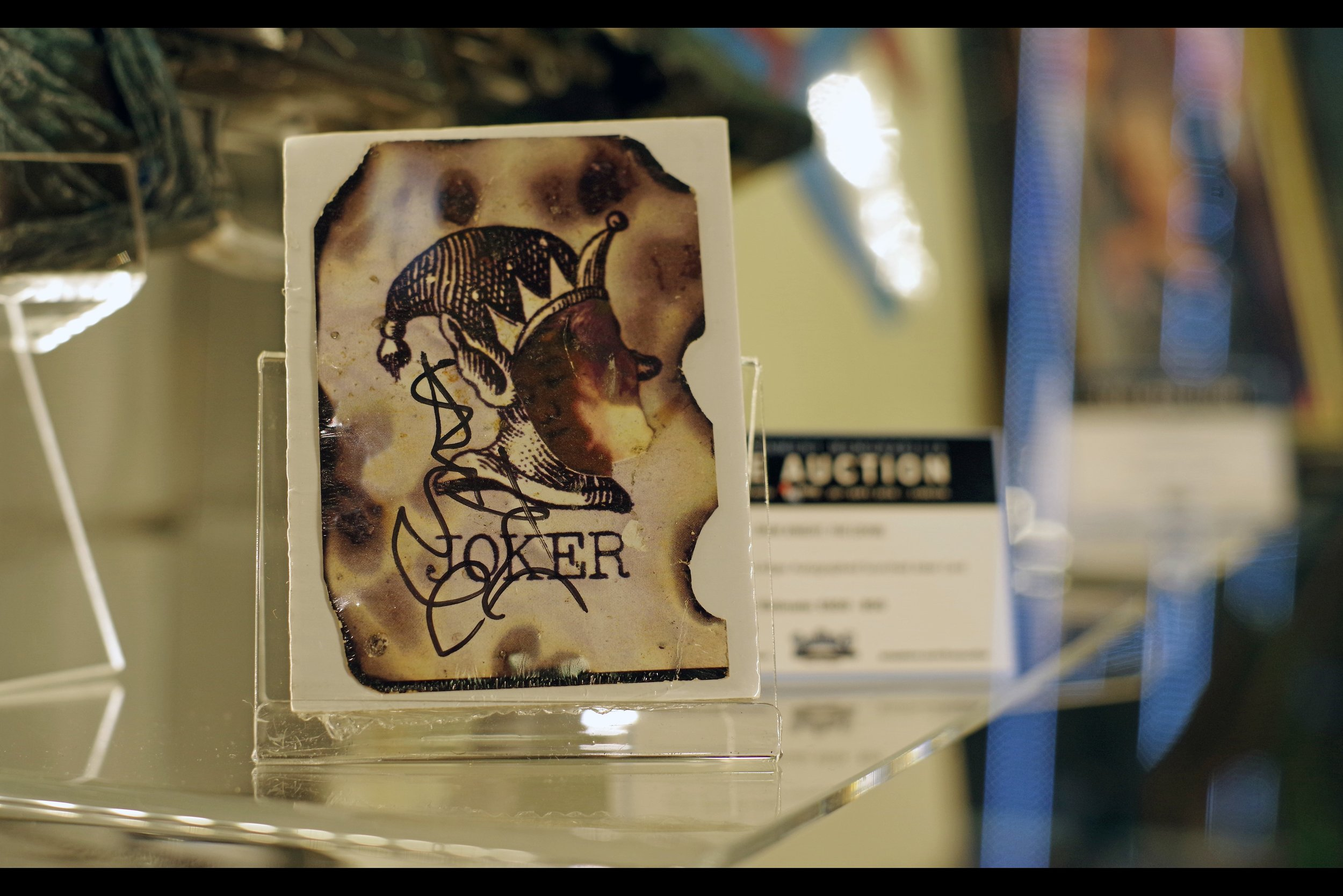 """Here's my card. Got some Australian guy to autograph it""  Heath Ledger Autographed Joker Card. Winning bid: £10,000"