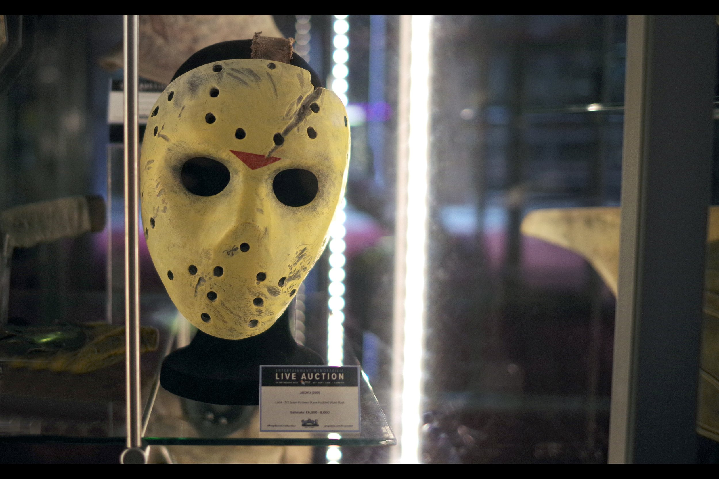 """""""I'm actually wearing a coquettish expression underneath this mask. I guess you could say it's one of the drawbacks of the mask.... but there are advantages""""  Jason X stunt mask : Winning bid: £6,000"""
