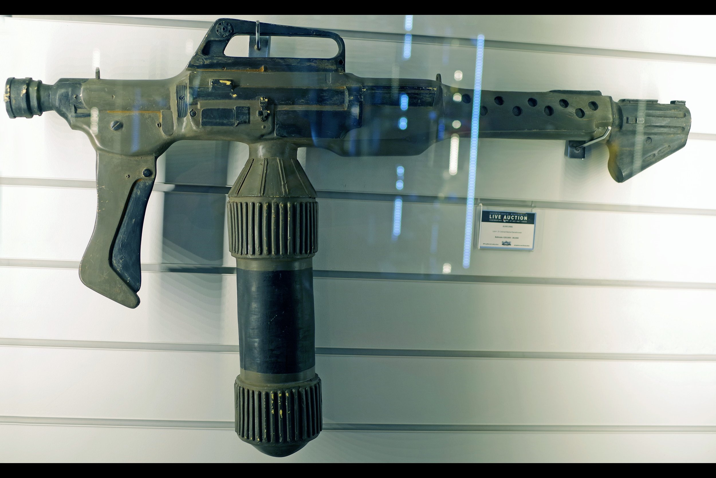 """""""Somebody saw a cockroach on the third floor. We figure it's safer just to burn down the whole city block""""  ALIENS Colonial Marines flamethrower. Starting bid: £10,000 (unsold)"""