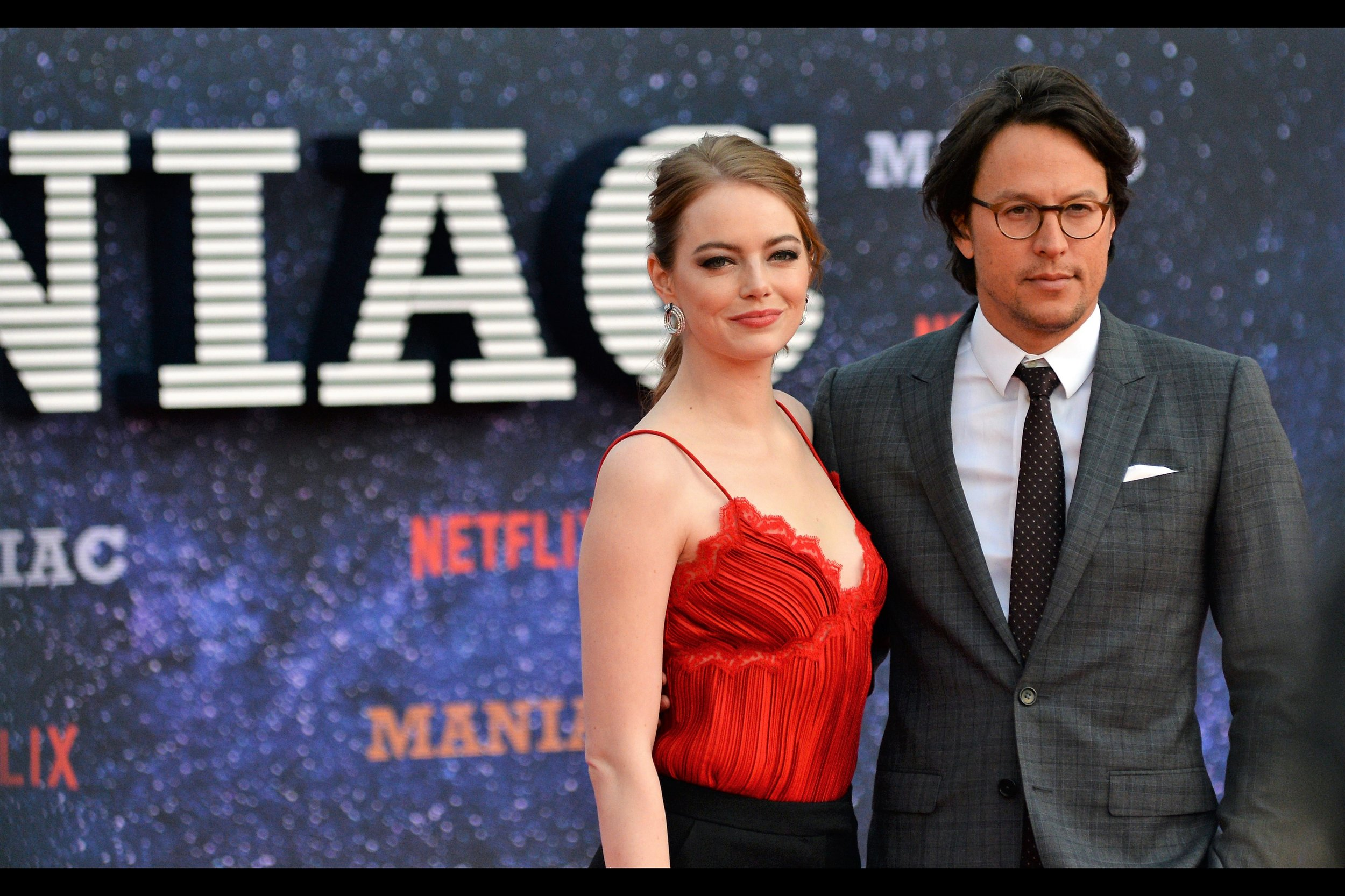"Emma Stone and Cary Fukunaga. Maybe I'm getting eye-contact from Cary Fukunaga….. or maybe I'm busy still looking at Emma Stone (who I've photographed numerous pleasant times, from    The Amazing Spider-Man    and    part 2   , and even last year's    ""Battle of the Sexes""   )"