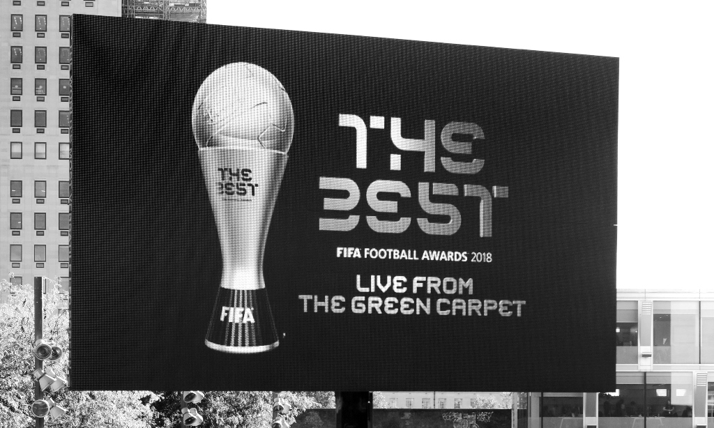 """I personally think  """"The Best Fifa Football Awards 2018""""  is right up there with """" The Intent 2 : The Get Up """" in terms of 'words that sound great separately but not when arranged like that' Also… as a bit of a closet fan of fonts, the one they're using for 'the best' looks… kind of appallingly bad.   1'.49 3951'  …  Really??"""