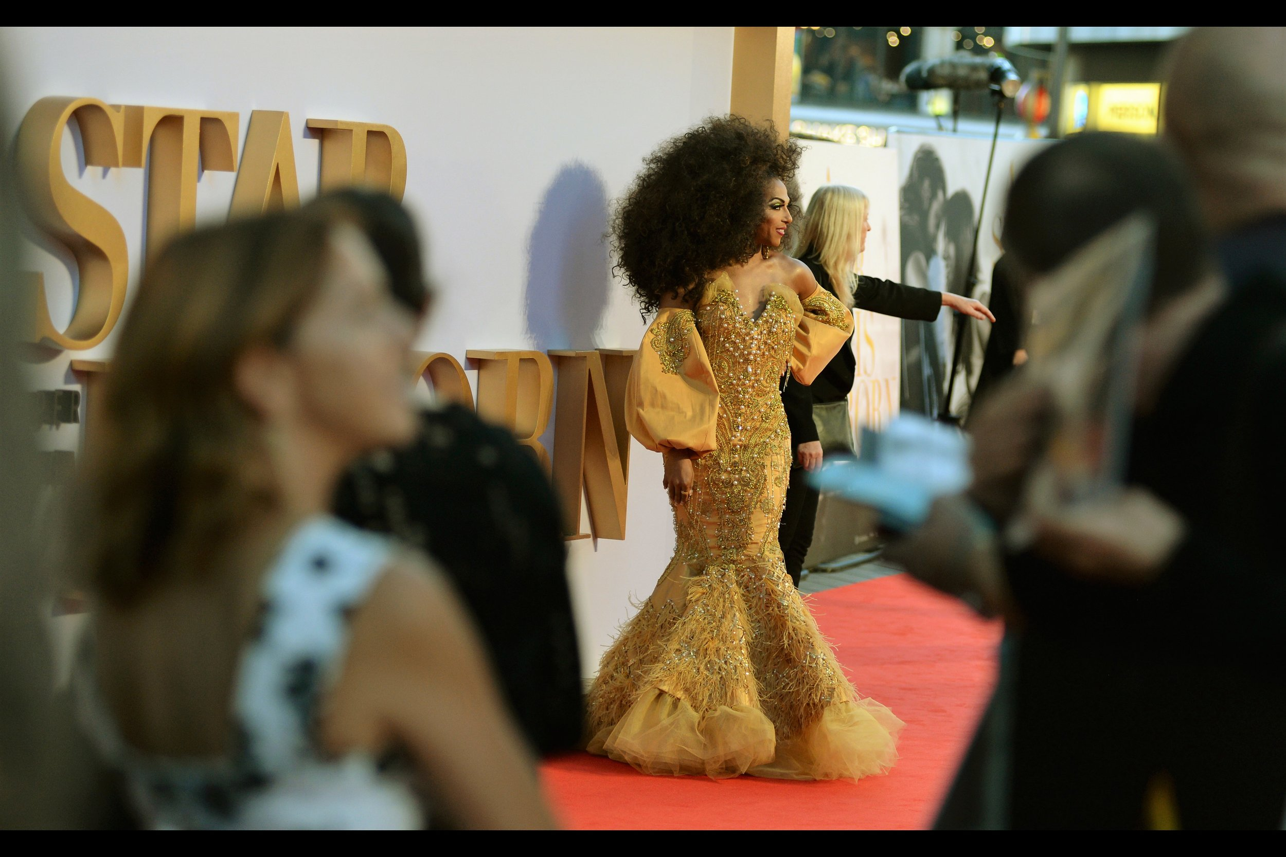 """Plain-dressed minion behind me: Point To The RIGHT… because this dress weighs a ton and the sleeves are half the weight "" - the mighty wireimage.com identifies this as ""Shangela"". I think her hair might weigh more than my camera(s)"