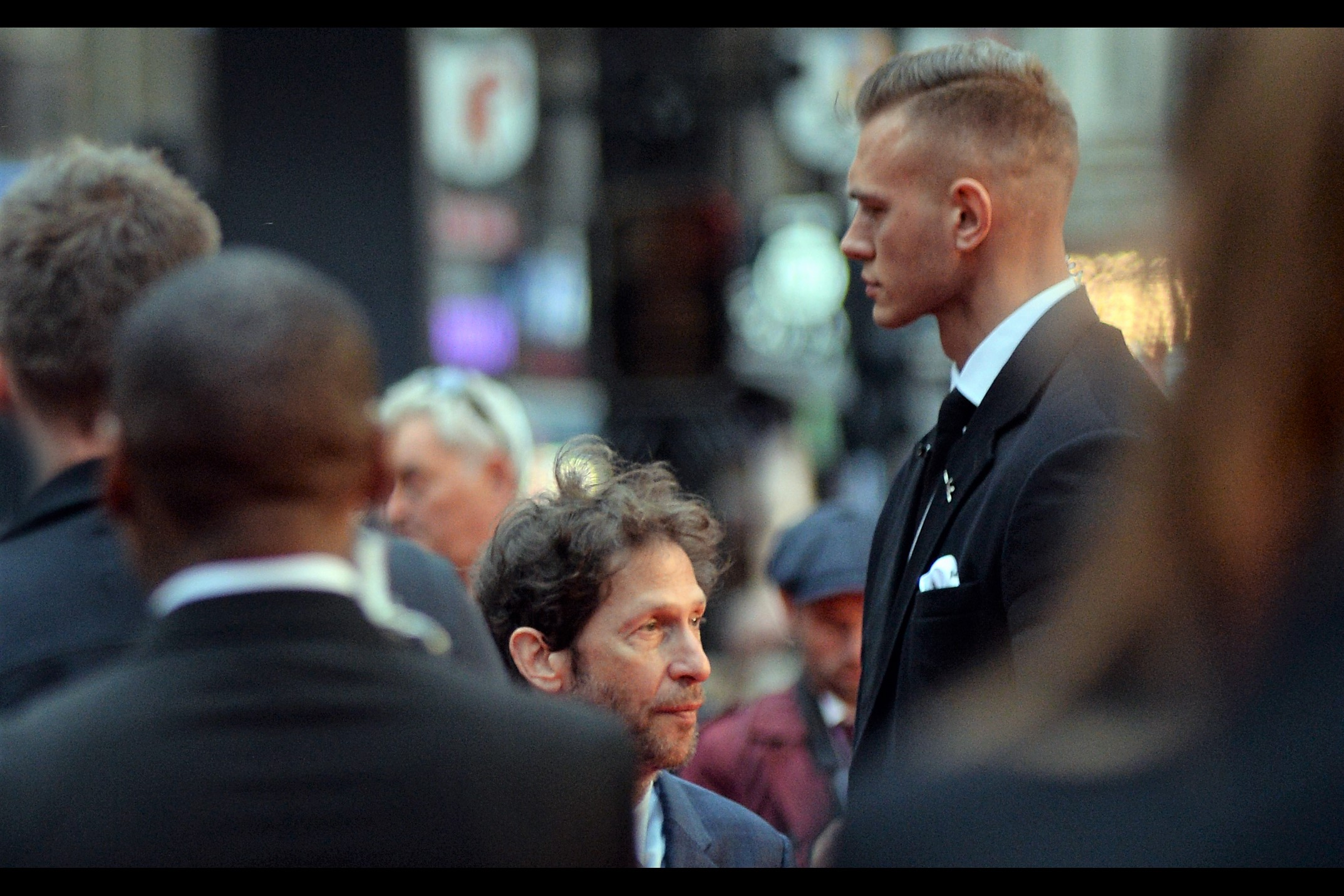 """""""You Are The Scruggs?"""" """"Might be. Might not be""""  The World's Tallest Security Guard meets (?) Tim Blake Nelson."""