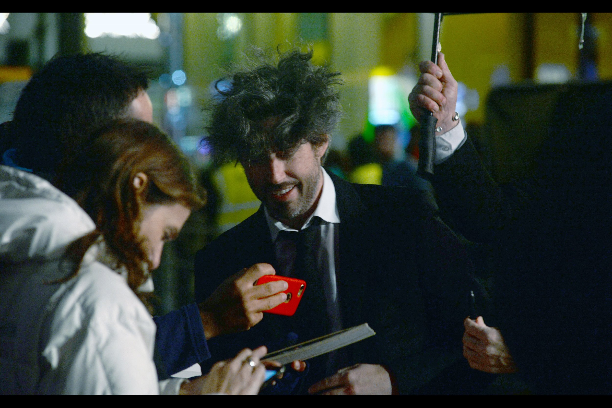 """""""Yeah… that's exactly how my stylist wanted my hair to look""""  - it's Jason Reitman! I last photographed him at a prior London Film Festival where it ALSO rained :    """"Men, Women and Children"""""""