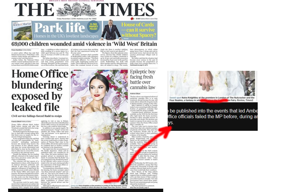 "And  The Times  has a photo of Keira Knightley   ""at the premiere in London""   on its front page…. not at a ""gala european screening"""