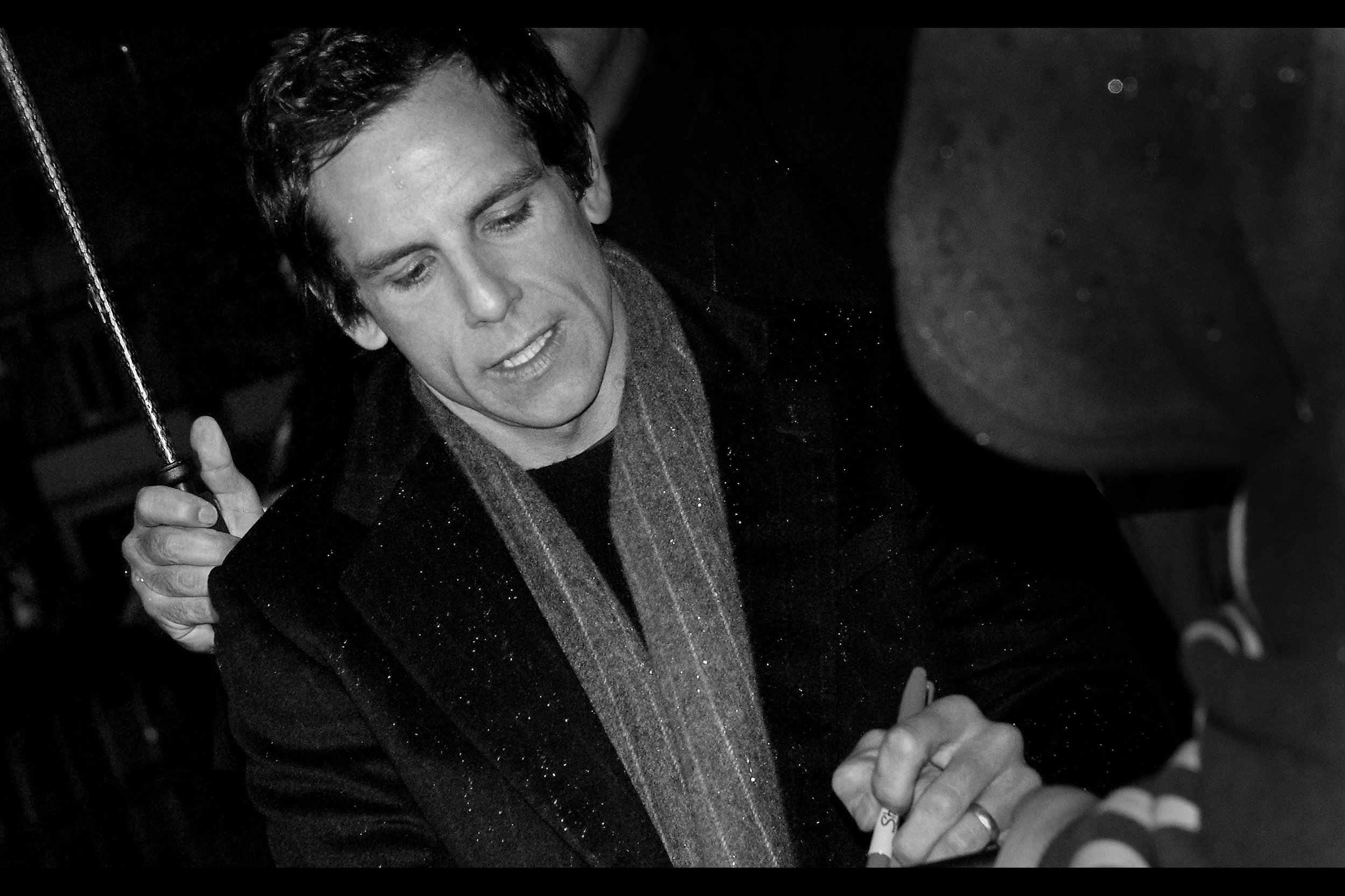 Ben Stiller, hopefully signing a cheque made out to the Derek Zoolander Centre For Kids Who Can't Read Good And Want To Learn How To Do Other Things Good Too. (In other news : My K10D is weatherproof, repeat, weatherproof)