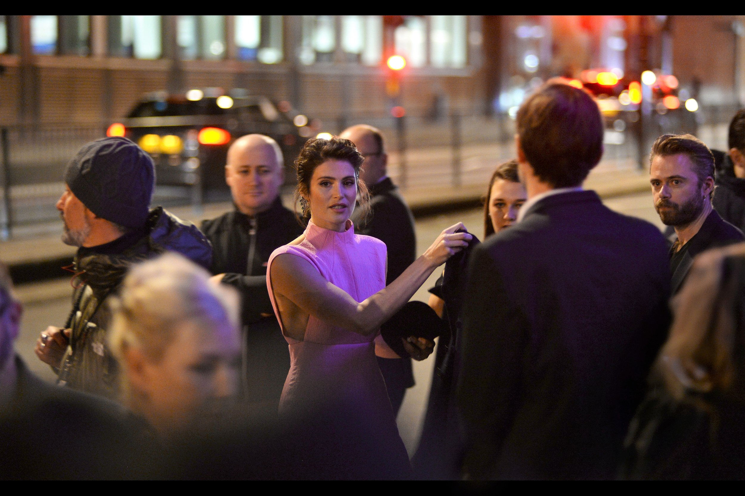"""Oh, no…. it's a dark, dreary, damp night; and I thought those people wanting my autograph might not have shown up""  Sadly, Gemma Arterton, like everyone else, has stumbled into their preferred climate (though I found them nicely docile this evening, with one exception)."