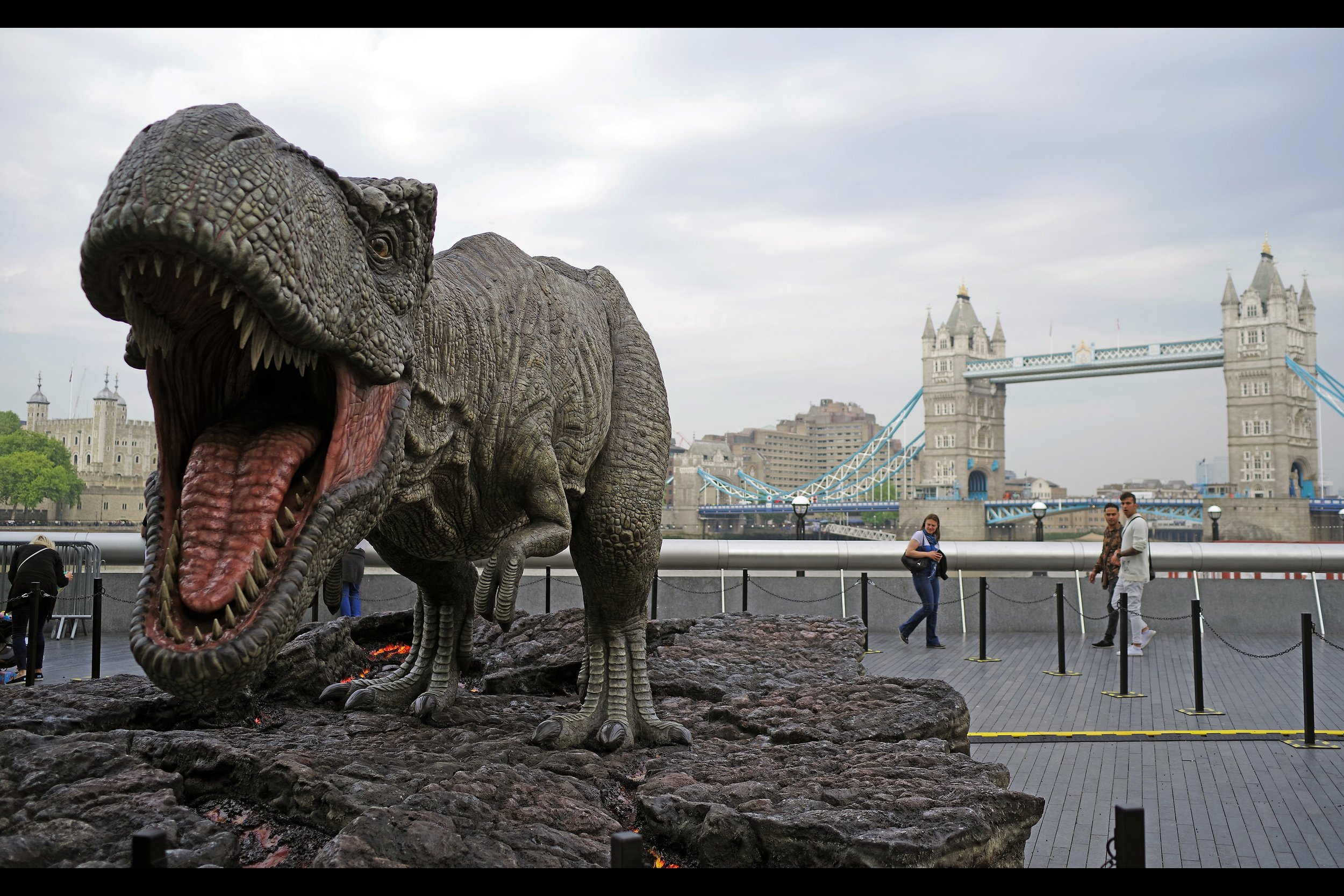 May 24th :    Jurassic World Fallen Kingdom    didn't get a premiere, but it did get a T-Rex near tower bridge (and, later, for the original film's 25th anniversary, a Jeff Goldblum statue)