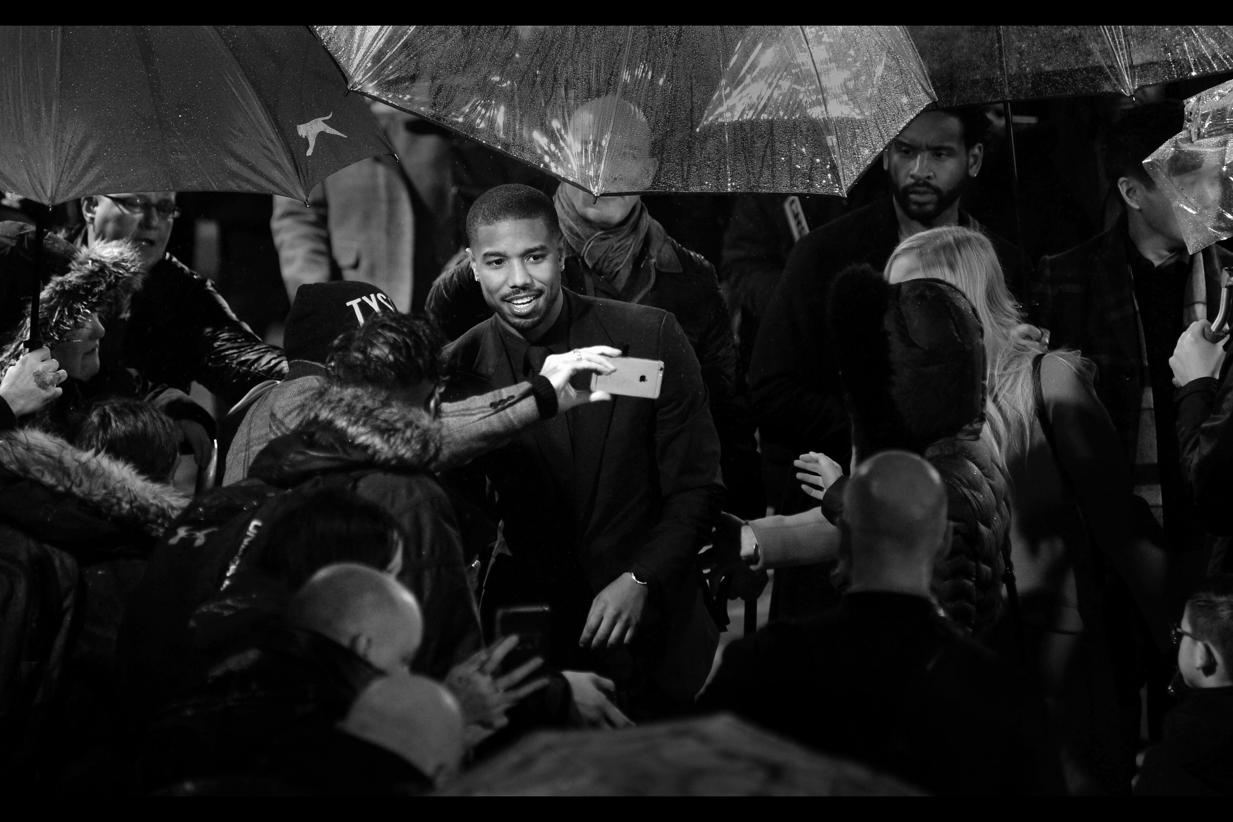 "November 28th : 4th premiere in 4 days : Michael B Jordan for the rain-soaked    ""Creed II"" premiere   ."