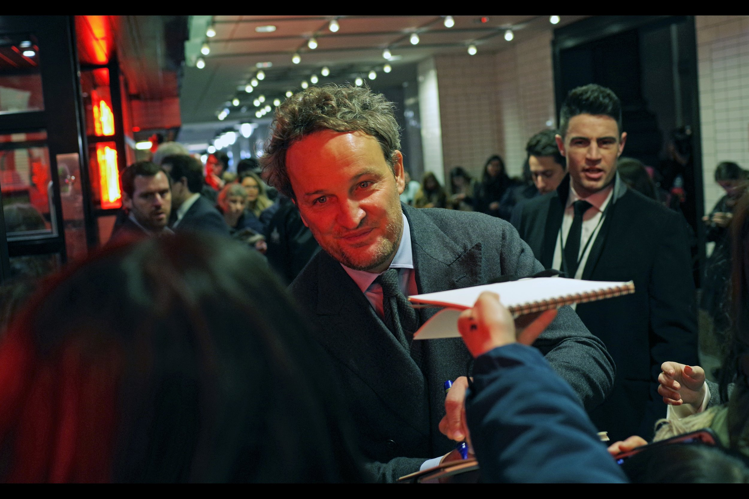 """""""Wouldn't you rather I stare dreamily into your eyes than sign a lined notepad you'll probably later write your shopping list on?""""  Jason Clarke, meanwhile, is a gentleman of the highest order - signing and posing for selfies on both sides of the red carpet."""