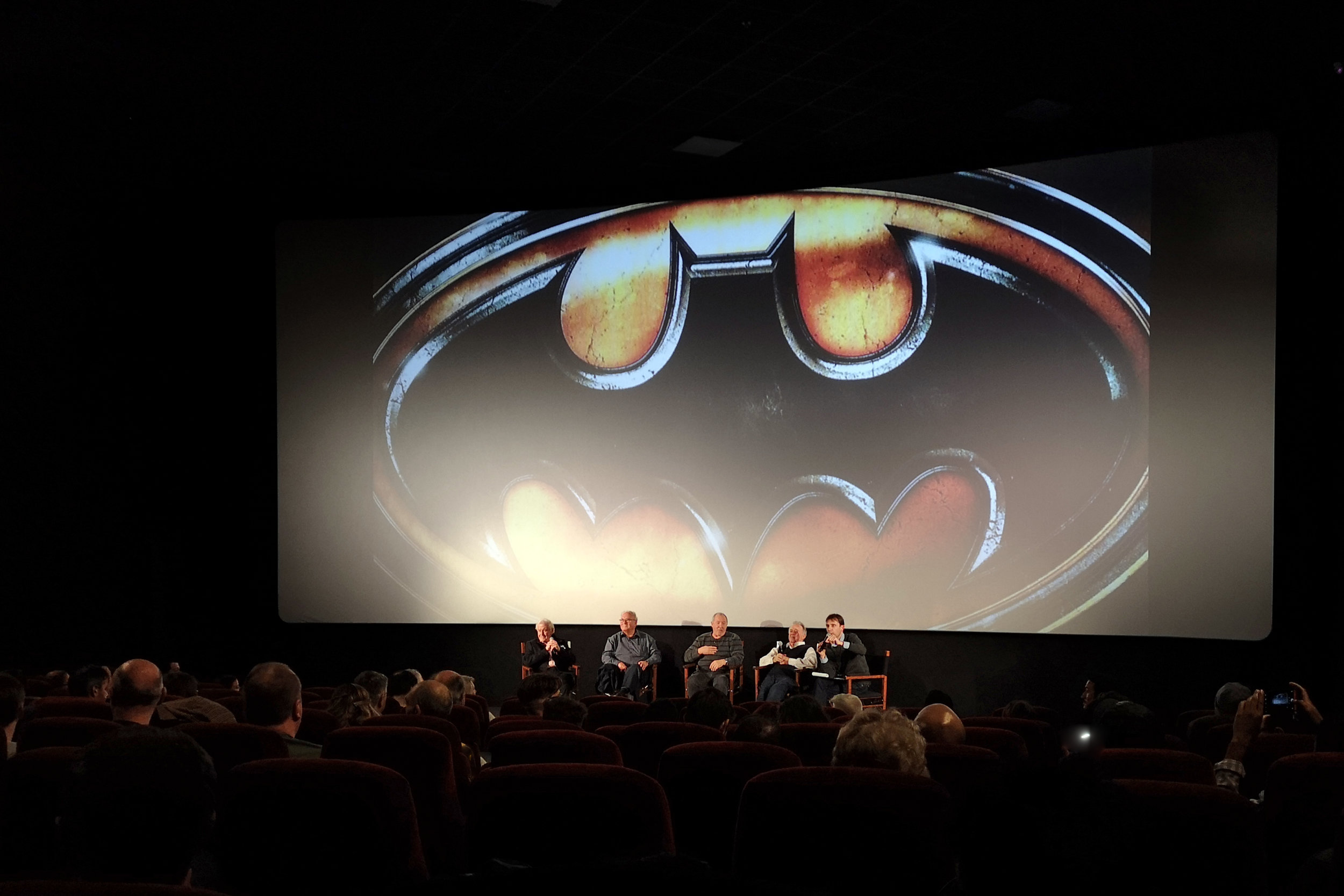 """""""Who'd care about an aftermath when you can have THE MAIN EVENT?""""   From left to right - John Evans (Special Effects Supervisor, 'Batman (1989)'), Terry Ackland-Snow (Art Director, 'Batman (1989)'), Eddy Joseph (Sound Editor, 'Batman (1989)'), Chris Kenny (Co-Producer, 'Batman (1989)'), and interviewer."""