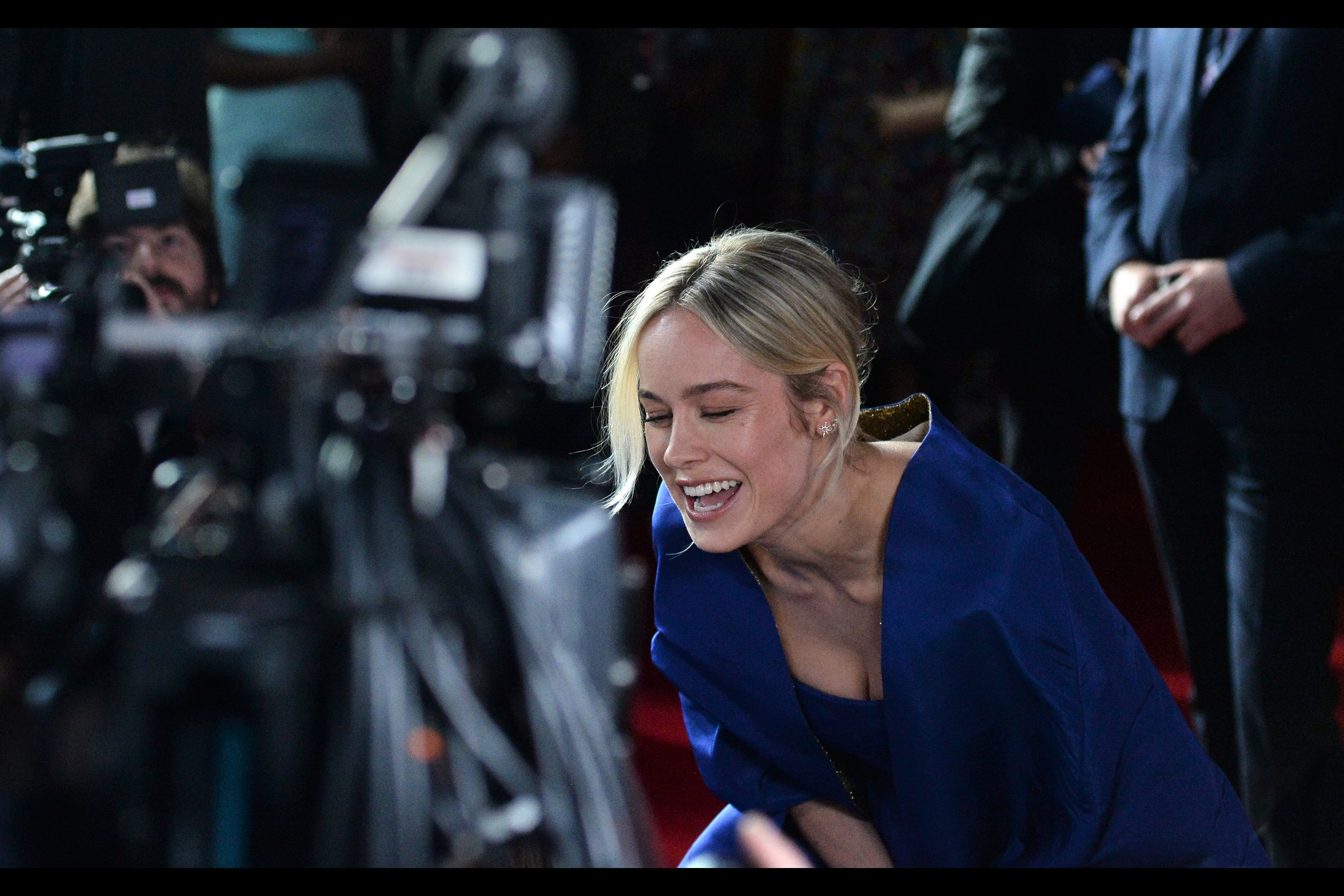 """Your question is awesome and you're really pretty. Is that a good enough answer?""  The only previous time I photographed Brie Larson was at    the premiere of ""Kong : Skull Island""    - which Samuel L Jackson also attended."