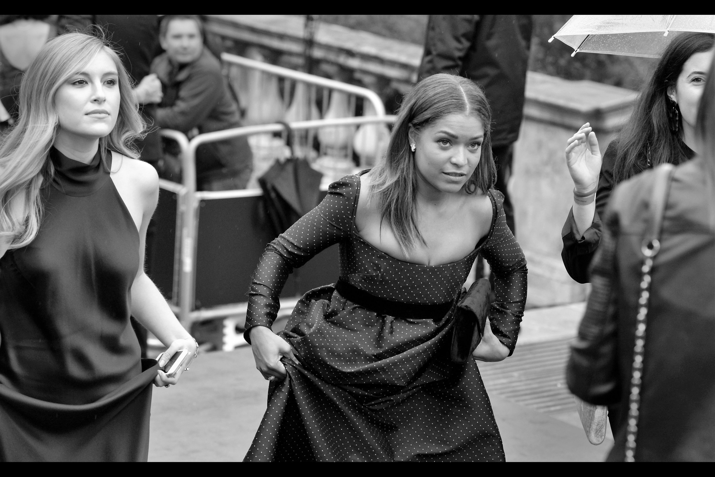 """Holding your dress the same way as I am isn't helping me get up these stairs, babe"" ""I was going by the adage that a problem shared is a problem halved…… babe""  Antonia Thomas (centre-ish) was possibly in something called ""The Good Doctor"" and something else called ""Lovesick"" and something else called ""Teletubbies"". None of which have much to do with theatre, true, but then I don't and I'm here."
