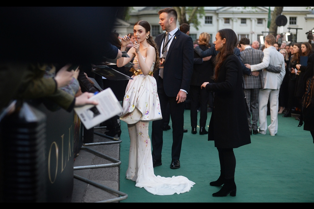 """The dress with the heart-shaped front? So very last week!""  - Indeed, I last photographed Lily Collins at the    'Extremely Wicked, Shockingly Evil and Vile' premiere    at this very cinema last week."