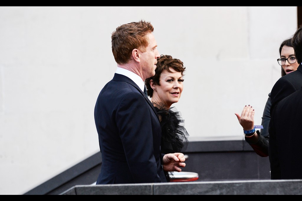 Sadly I didn't capture either of Helen McCrory (right) or Damian Lewis (left) facing forward as they ascended the stairs, or afterwards. Oh, well.