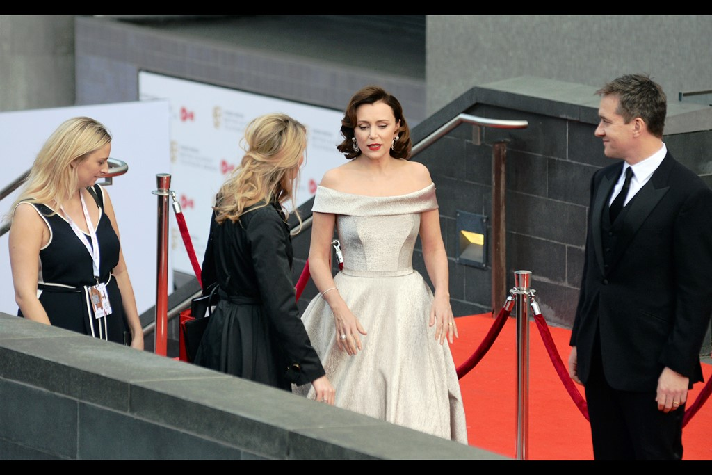 """""""No… we gotta stop here on this landing. I don't know what this dress is made of. It's soft and yet I feel only a force ten gale would cause it to move, let alone billow.""""   - Keeley Hawes is/was nominated for Best Actress on the night."""