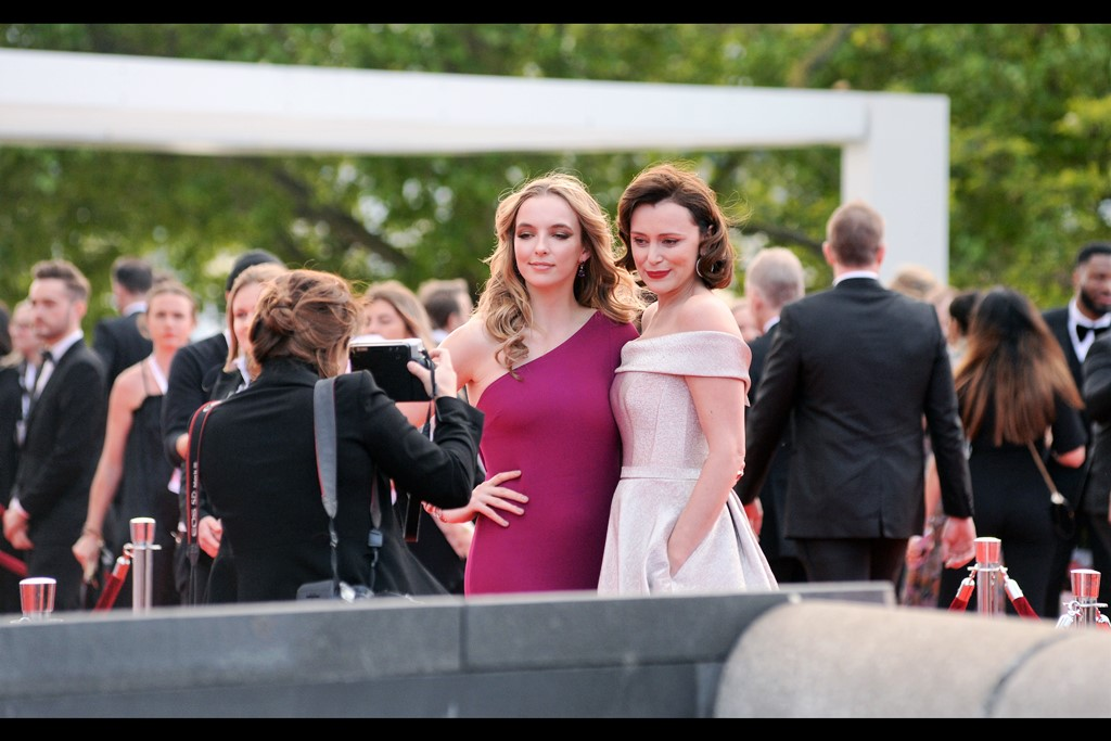 """You can already tell us which one of us wins and we'll both look surprised. You know why? Nominees for Best Actress, right here…!""  - Jodie Comer (left) and Keeley Haws (right) were both nominated. (Edited to add : Jodie Comer won)"