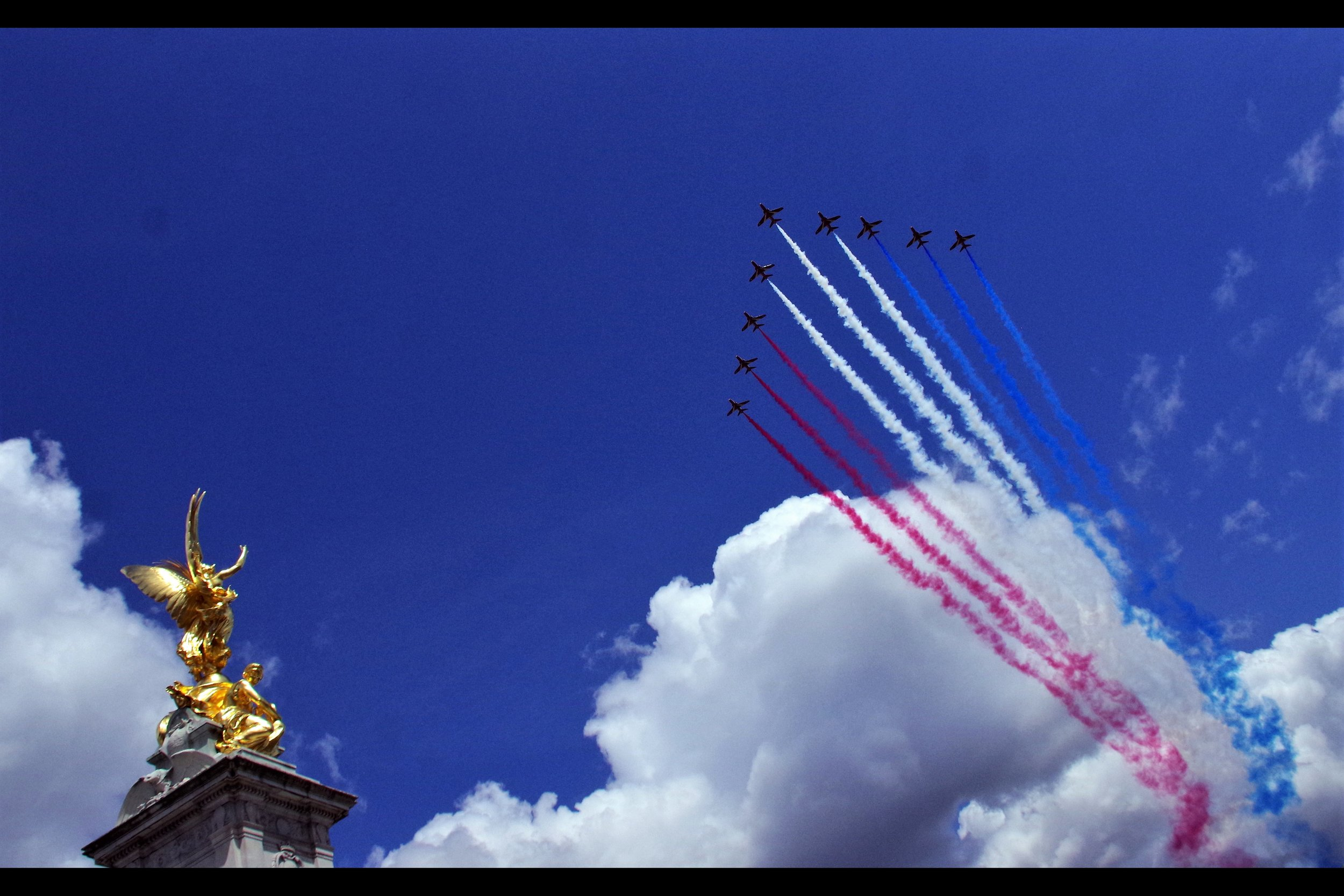 """So… why are we drawing the flag of France in the sky for the Queen's Birthday? Has anyone asked?"" ""No, because it's more like the flag of the Netherlands and because drawing the Union Jack would be really REALLY difficult"" ""Oh, okay"""