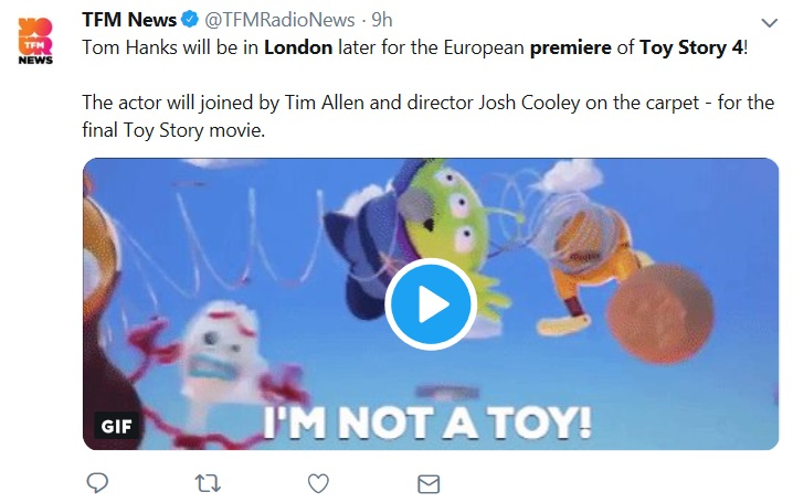 """I'm not a toy!"" I'm just a gullible person who (sadly) believes or is optimistic about what I read on twitter  - like about Tim Allen attending!"