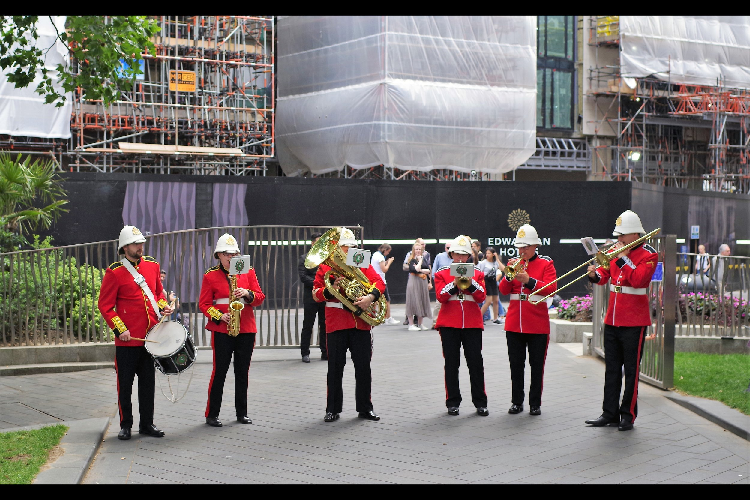 """""""We're glad you're enjoying our brass band versions of contemporary rock and pop songs… but anyone who asks us to play """"Who Let The Dogs Out"""" will not enjoy our response…"""".  Personally, I thought 'Seven Nation Army' and 'Don't Look Back in Anger' were the highlights."""