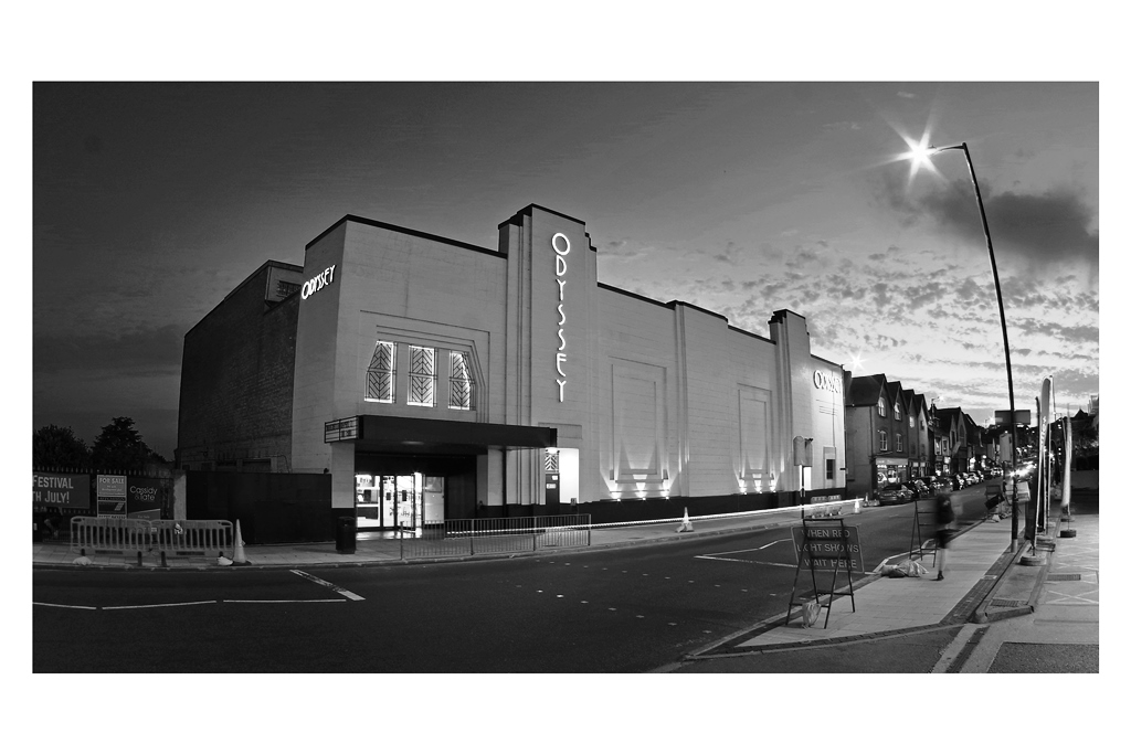 5. CINEMA  - I took this photo of the St Albans Odyssey cinema at sunset, which is probably not the best thing for a monochrome conversion, but I think the wide-angle lens does a good job, AND I actually had the camera on a monopod for this shot to give it a more unique vantagepoint.  On reflection : I mostly think this photo works, but maybe I should have taken an interior shot - asked if I could take a single shot of the upper seats facing the screen during (say) the trailers in front of the movie…..
