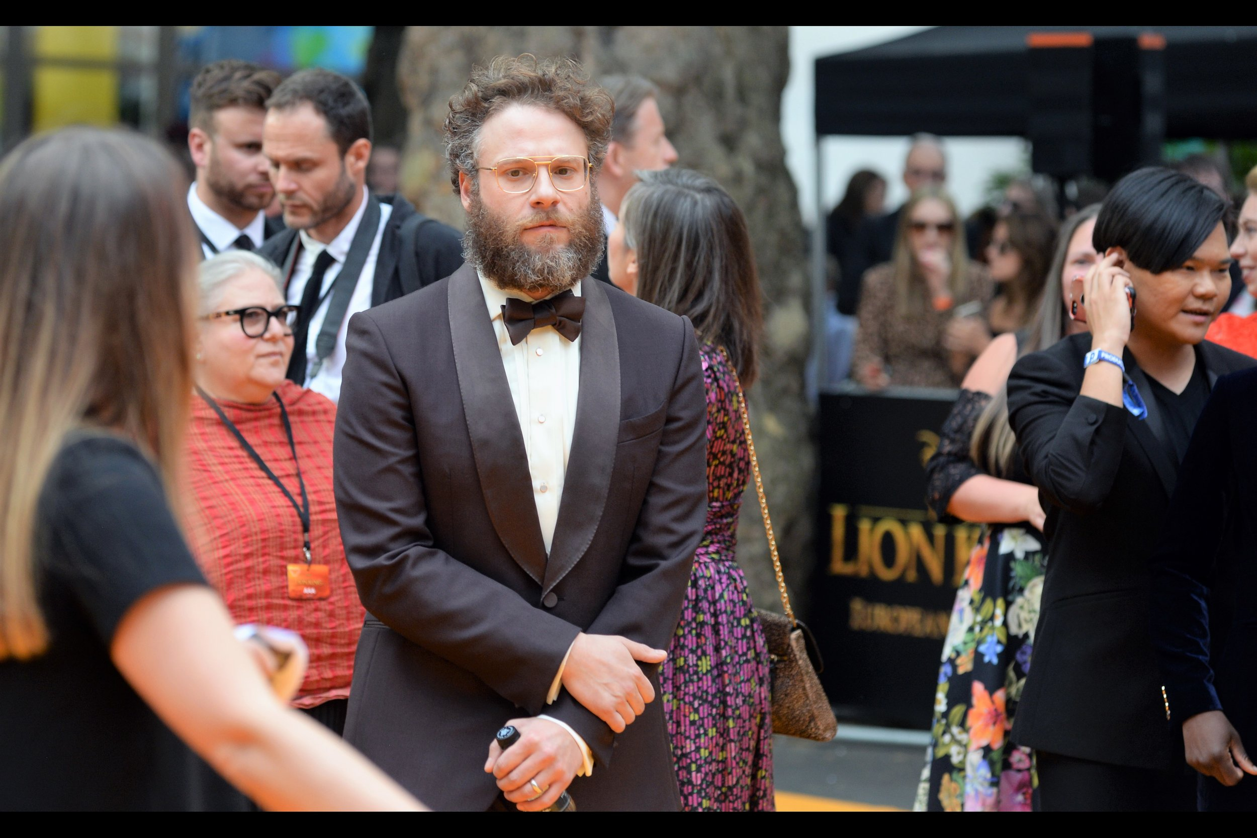 """Right now you're wondering if this beard is real, or CG. And THAT'S how good Disney has gotten at this""  Seth Rogen plays the role of the warthog Pumbaa in this film. I've only photographed him once before, and that was this year at    the premiere of ""Long Shot""    with Charlize Theron"