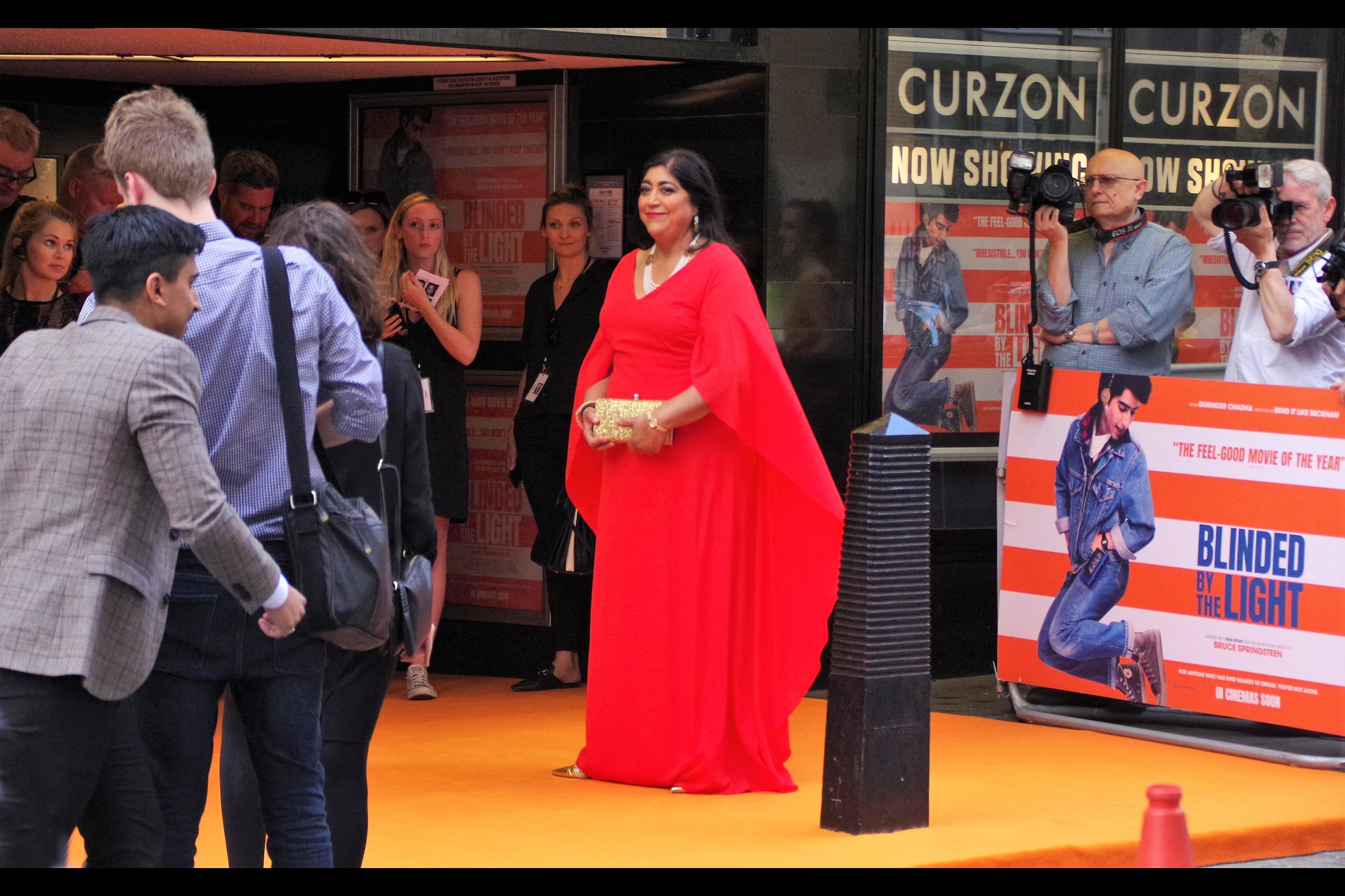 """And now you know why I insisted on this red carpet being orange""  - Gurinder Chadha is the director of this movie - as well as movies such as 'Bend it Like Beckham' and    'Viceroy's House'."