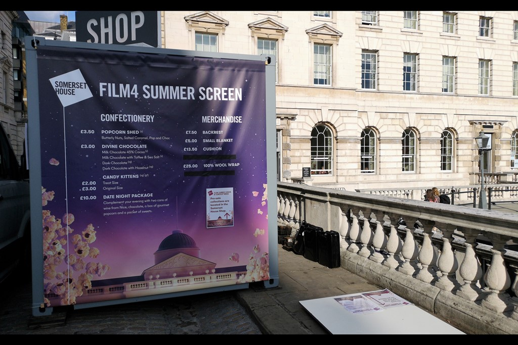 """Not a great photo of the vim and vitality of a Film4 Summer Screening, but historians of the future who might otherwise have no idea how much a """"Popcorn Shed"""" or """"Candy Kittens"""" cost will have me to thank."""