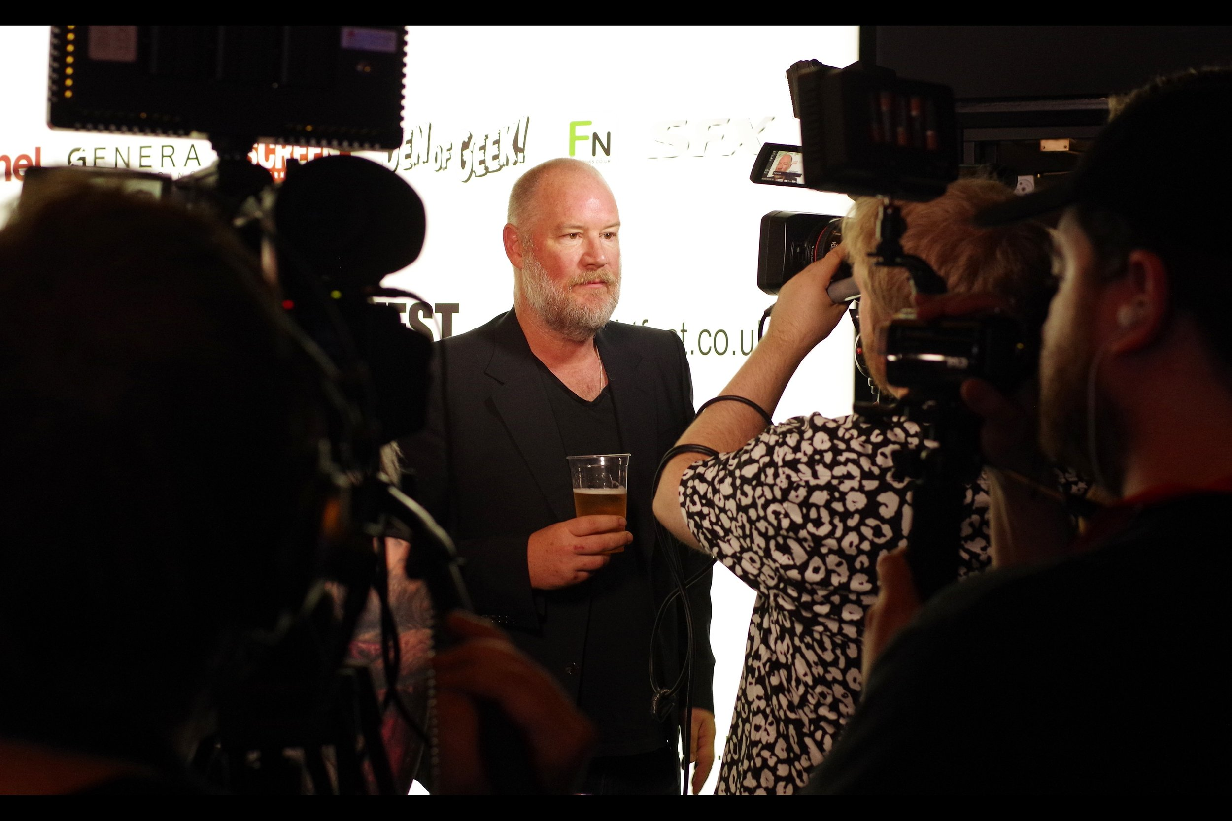 """Is that a beer I'm holding while being interviewed? Don't be ridiculous. This is Frightfest - this is a whiskey. Neat. Next question?"""