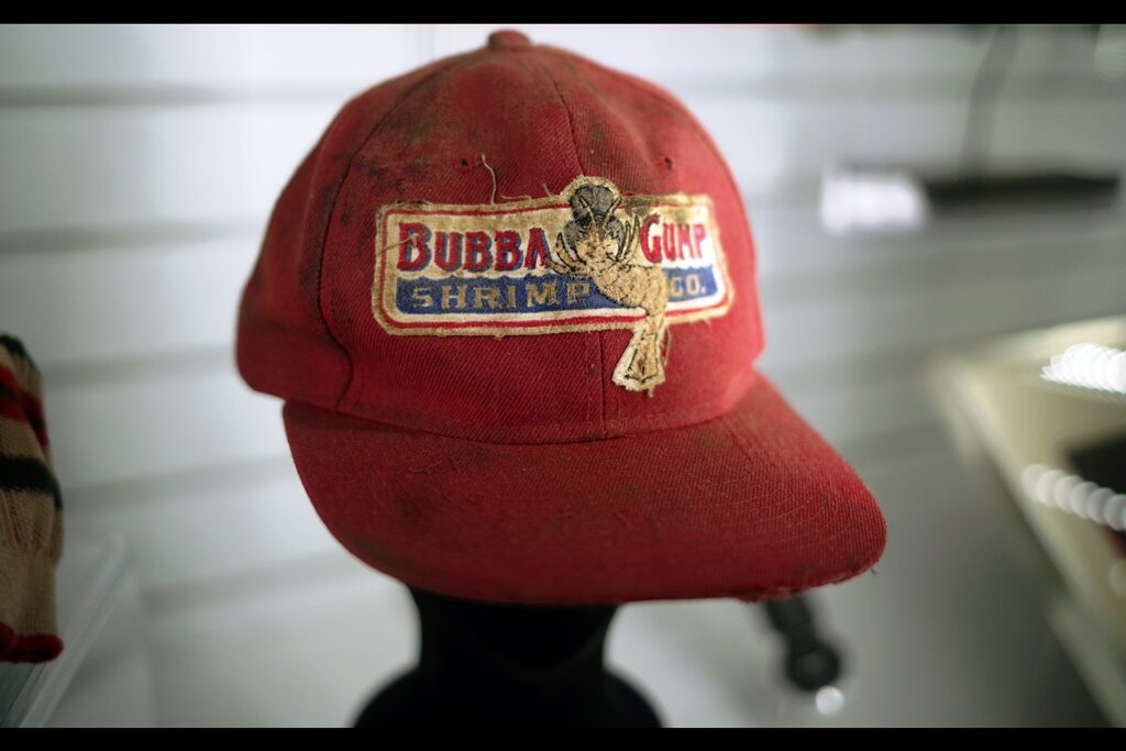 """Feedback from original owner :  """"Momma Always Sed : Only Gangstas Wear Baseball Caps Backwardz""""  Screen-matched Bubba Gump cap worn by Tom Hanks in """"Forrest Gump"""" : Estimate: £8,000 - 10,000 (Winning bid : £12,300, twice that of the CLEAN version of the cap!)"""