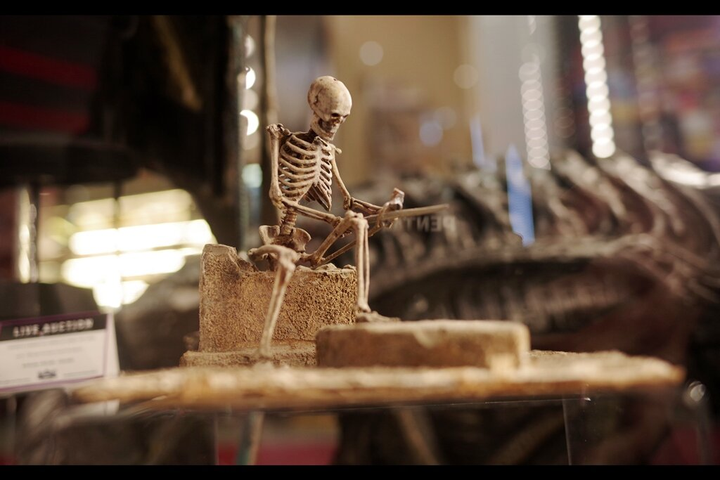 """Feedback from original owner :  """"Used to hold my skin on and organs in. Really miss it now that I'm mostly a puddle""""  - Stop-motion skeleton from Army of Darkness. Estimate: £3,000 - 5,000 (winning bid : £3,690)"""