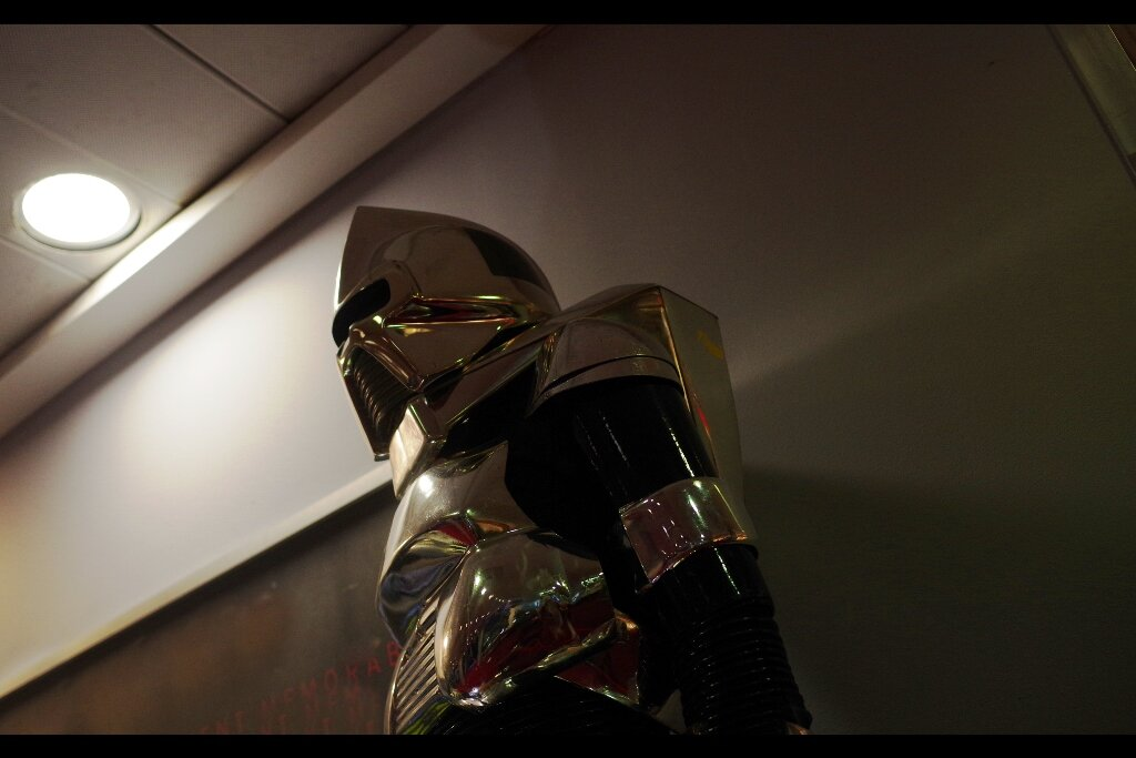 """Feedback from original owner :  """"We upgraded them in 2004 to make them sexier, and we're about to reboot / restart the series …. enjoy the Ye Olde-Schoole model.""""  Cylon Centurion from Battlestar Galactica (1978/79). Estimated : £15,000 - 25,000 (Winning bid : £18,450 - twice that of the gold variant, HALF that of the plush Muffit dog-thing)"""