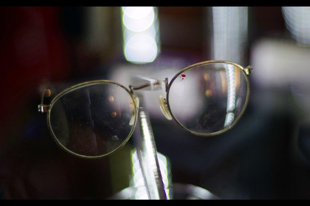 Blood-splattered glasses worn by Quentin Tarantino in 'From Dusk Til Dawn'. Estimate: £2,000 - 3,000. (winning bid : £5,227)