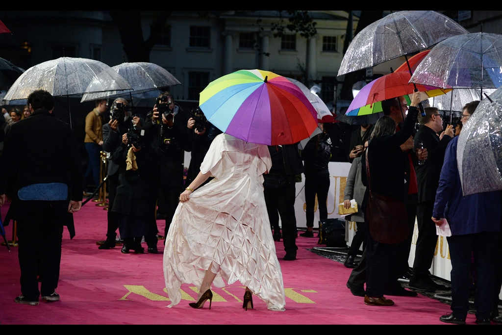 """""""if you had any respect for fashion and this amazing dress, you'd insist that your editors push politics and brexit off tomorrow's front page and instead mourn the damage that the rain has done to this masterpiece"""""""