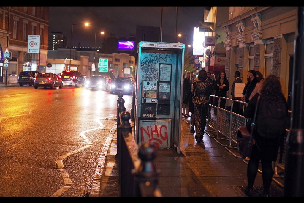 Of course, even if you go all the way to The Troxy to photograph people you've never met from the premiere of a movie you haven't watched at a cinema you've never been inside… there's always the iconic phone box in Limehouse you can photograph. Good old Boothy.