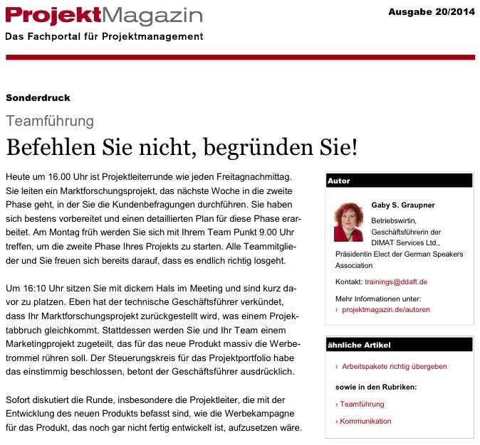 ProjektMagazin - Ausgabe 20/2014 vom 15.10.2014