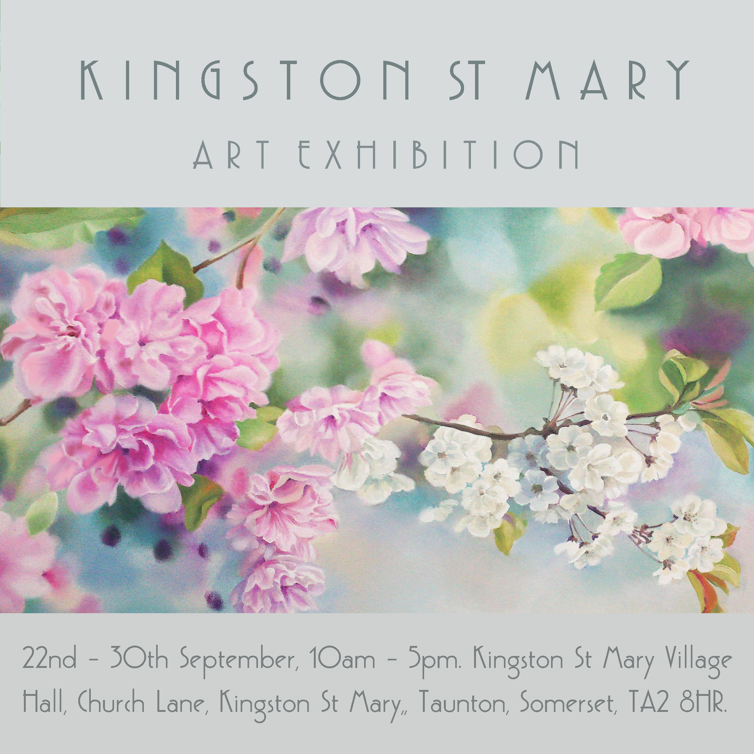 Very excited about the up coming annual art exhibition in Kingston St Mary. I will be exhibiting oil paintings, fine art prints and greetings cards. Come in and see us and chat to the artists.