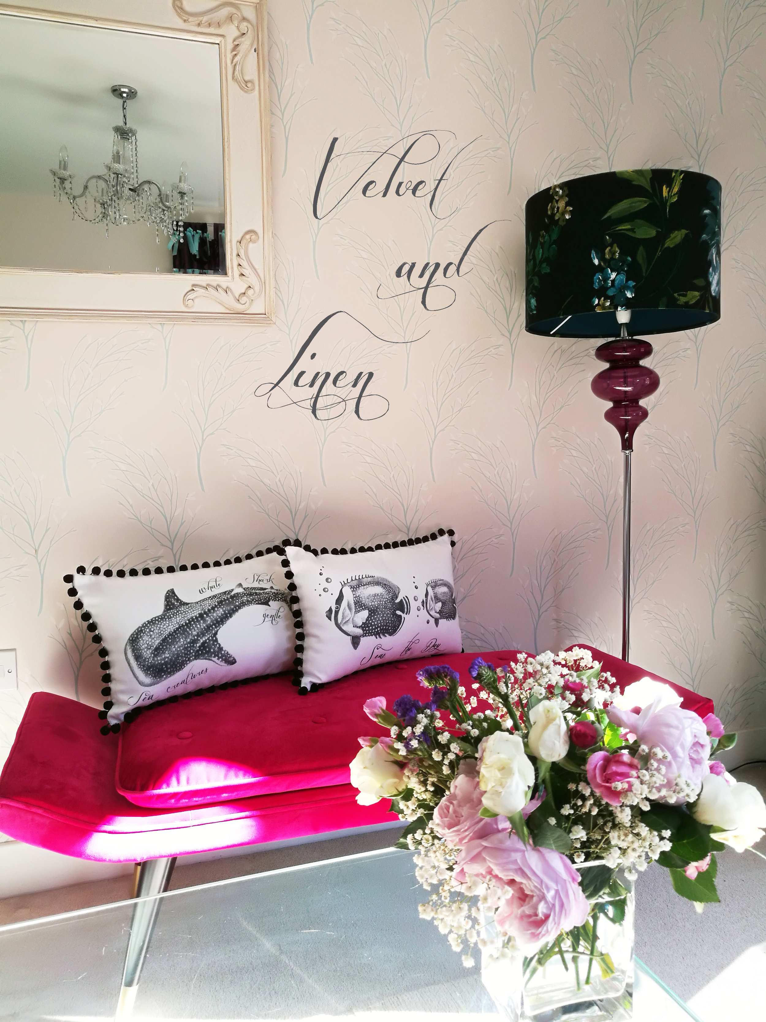 ooh, look at the pink chaise lounge. just can't get enough of looking at it! Recently purchased from Home Sense, together with the sumptuous velvet lamp shade. The perfect interior backdrop to show off my bespoke monochrome cushions. I'll be adding more designs to the store very soon.