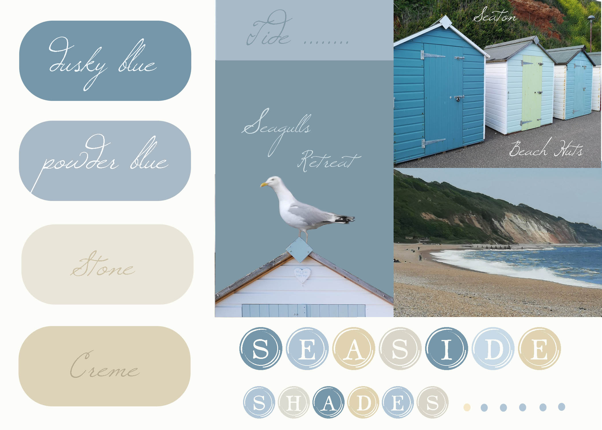 Seaside shades mood board inspired by our recent trip to Seaton in Devon. Thinking about new ideas for future greetings card and print projects all based around particular colour themes,