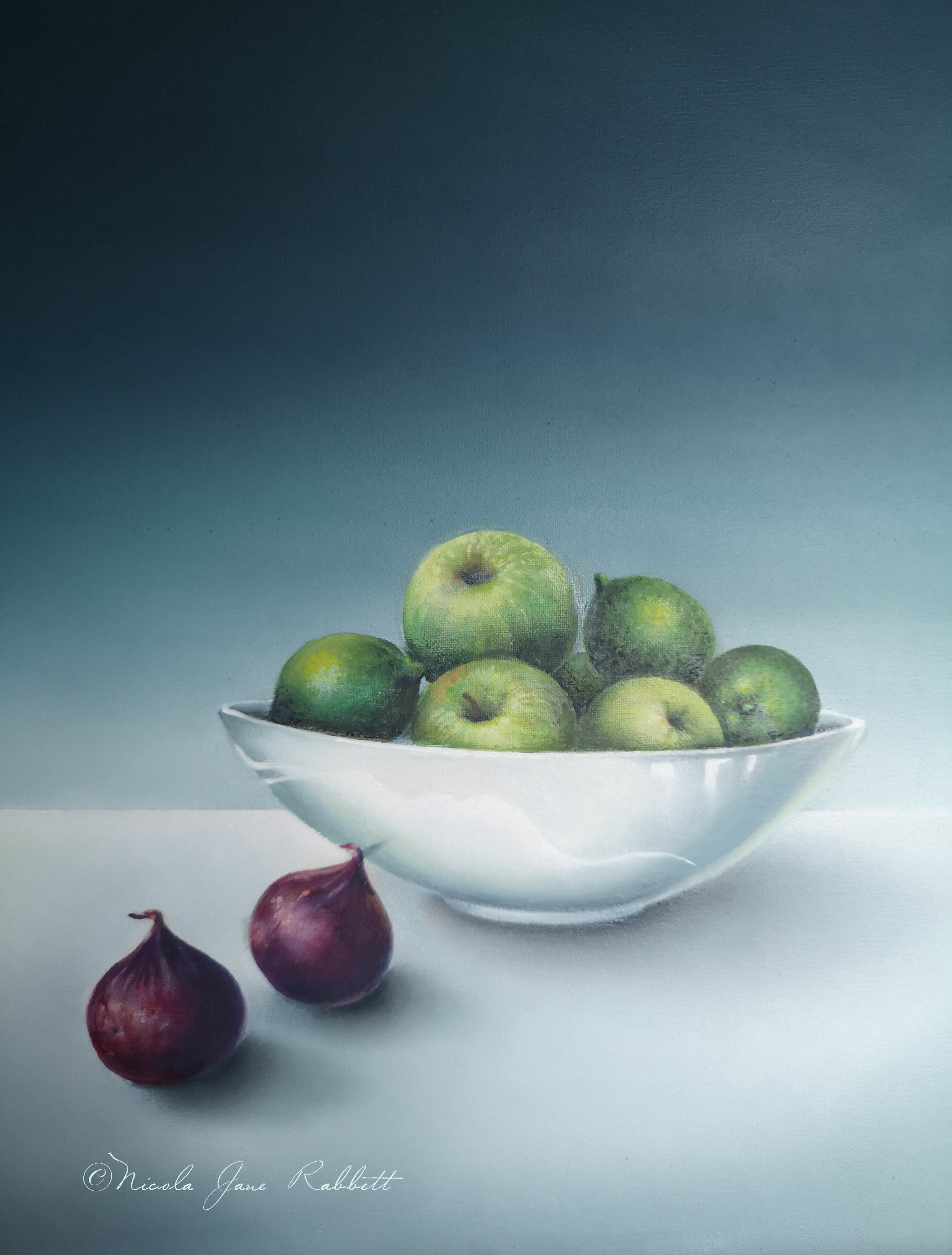'Apples, Figs & Limes' - This is a section of one of my new still life paintings that I'm doing for an exhibition I have coming up @chesterartsfair in November.. The exhibition runs from the 15th - 17th November 2019 and will be held at Chester Racecourse. Watch my progress on my paintings here. If you would like to #commission a painting or are interested in purchasing any of the new pieces you see here, get in touch via the contact page on the website and to see the paintings I have available for sale click on the on-line store.