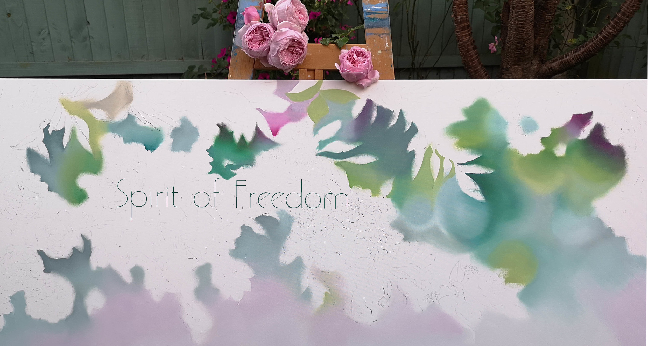 The garden was my #studio for the day today. Making a start on my new oil painting, 'Spirit of Freedom'. How appropriate, to be working in amongst the #roses and flowers that I'm #painting..