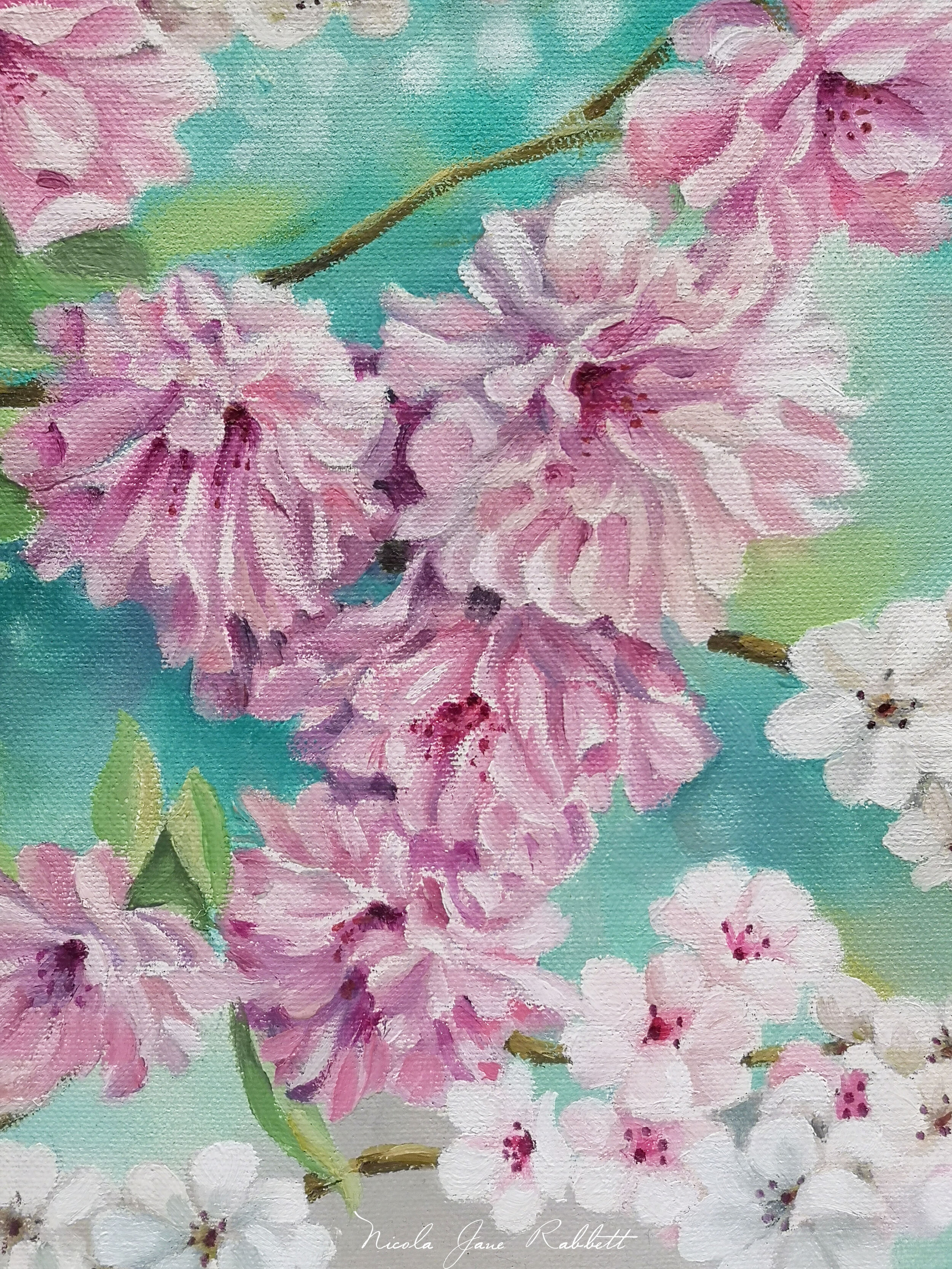 'Prunus Kikushidare -Zakura' - Detail of a weeping cherry blossom tree. - Oil on Canvas.I will be donating this to Chester Arts Fair's nominated official charity this year, ''The Joshua Tree', for a silent bidding auction, during the run up and throughout the dates of the fair. ' The Joshua Tree' has been fund raising for 12 years to build a new center to support children affected by cancer. Finally this year they have broken ground and the project has begun. To represent their efforts and success there will be a collection of 12 miniature masterpieces with a minimum bid of £45 which would cover the cost of one art therapy session for a child who has been affected by cancer. These pieces will be live on the Chester Arts Fair website - www.chesterartsfair.co.uk for the public to bid for in the run up to the fair, as well as on display at the fair for further bidding.. 'Prunus KiKushidare - Zakura will be available to bid on along with 11 other 'Mini Masterpieces' from the talented artists exhibiting at the Fair.