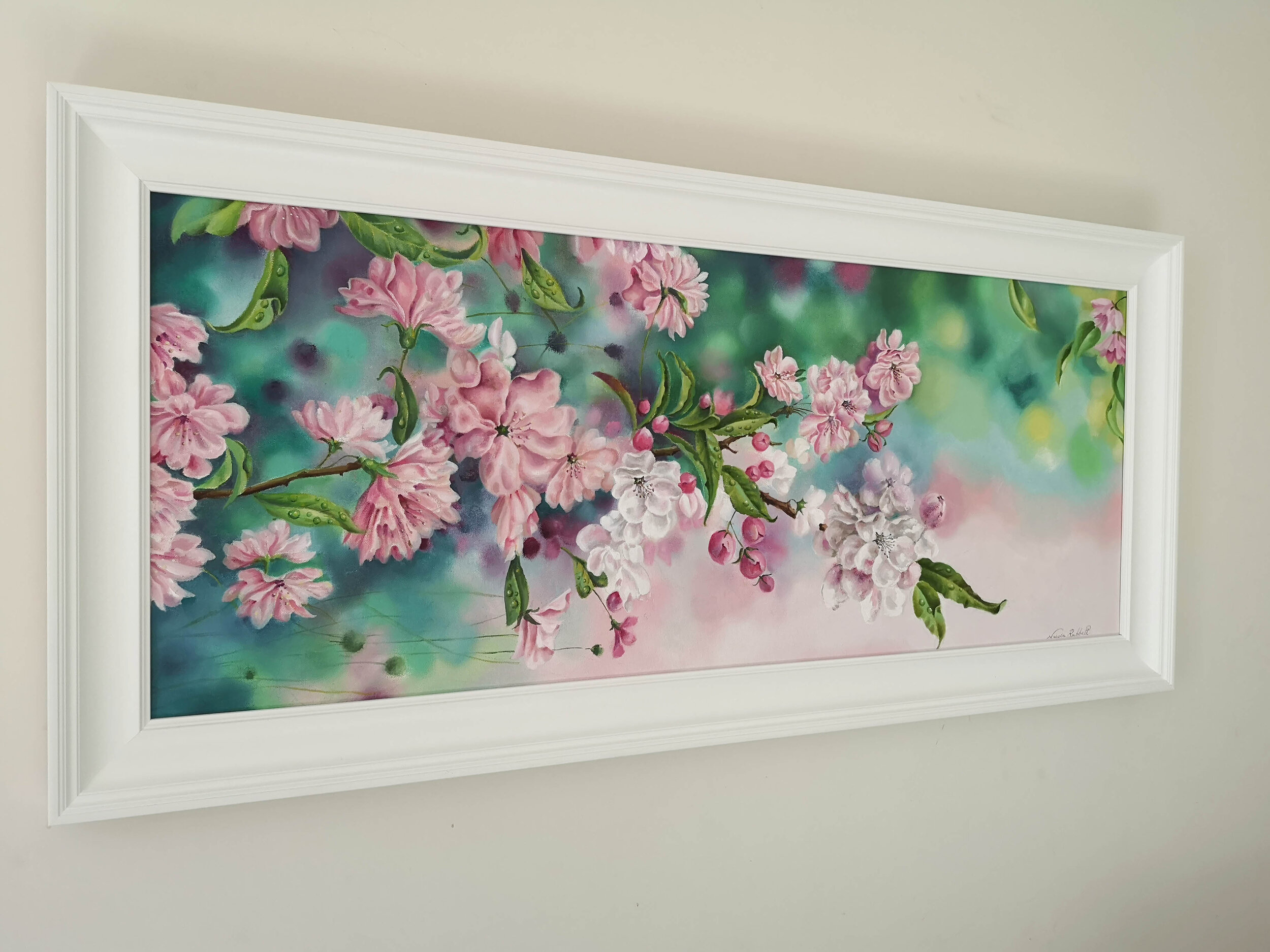 """Thank you to the lovely Dustin @FRAMEWORX in Taunton for framing my """" After The Rain"""" painting so beautifully. It sets the painting off perfectly and really picks out the white #blossom within the painting. Click on the image to take you straight to my paintings in the store.."""